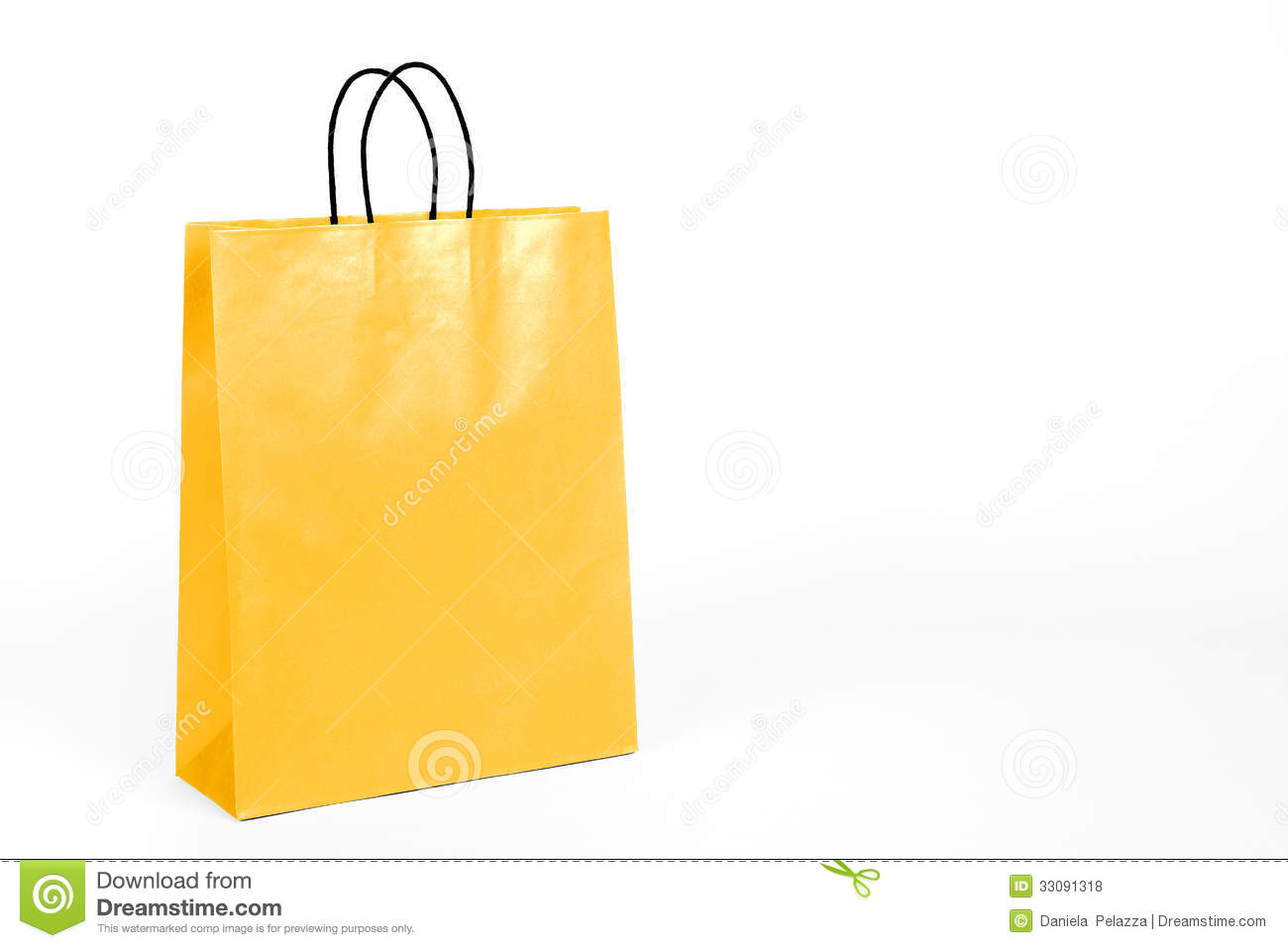 Glossy Yellow Shopping Bag. Royalty Free Stock Photos - Image ...