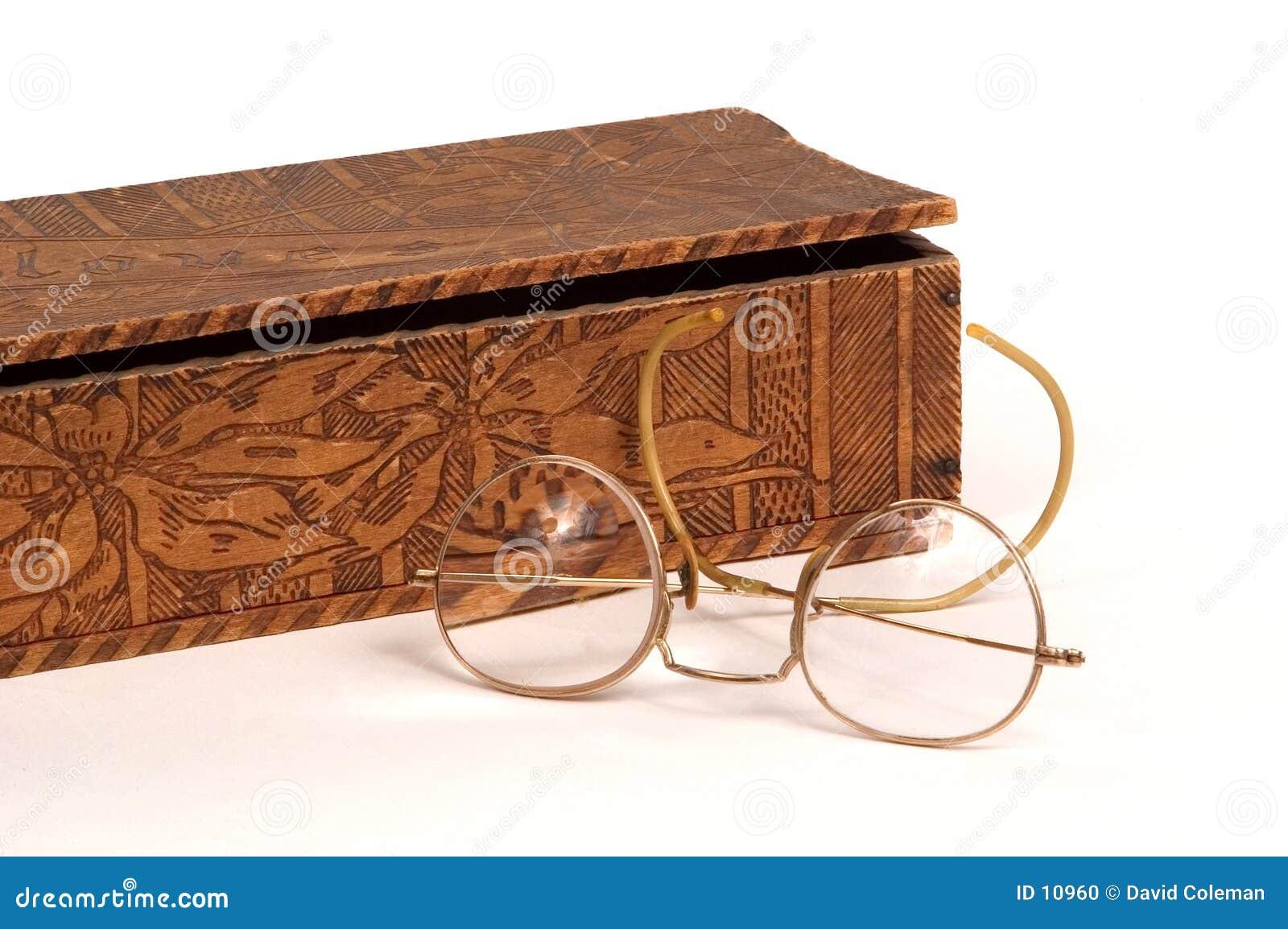 Glove box and antique glasses