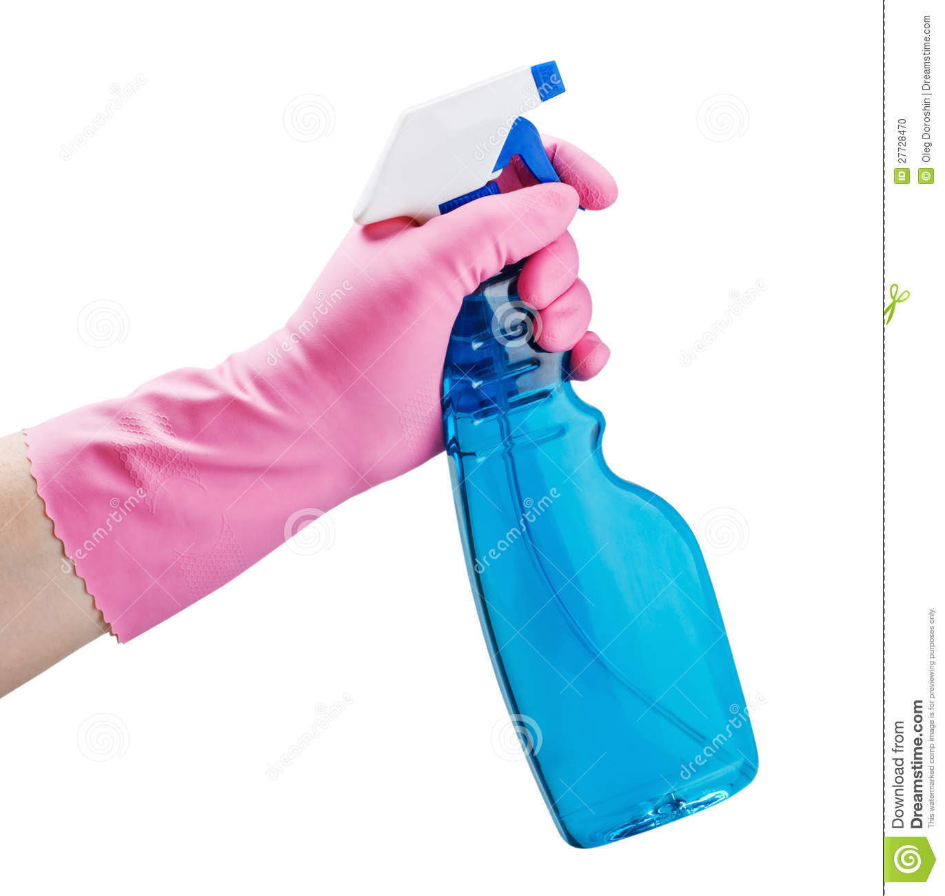 Gloved Hand Holding A Spray Bottle Stock Photo Image