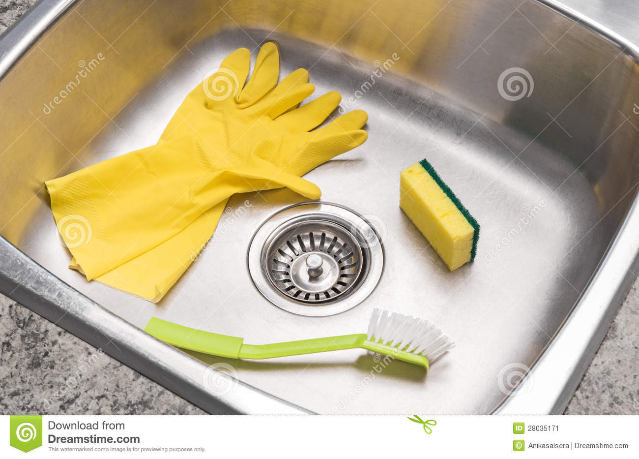 Gloves, Sponge And Brush In A Clean Kitchen Sink Stock Image - Image ...