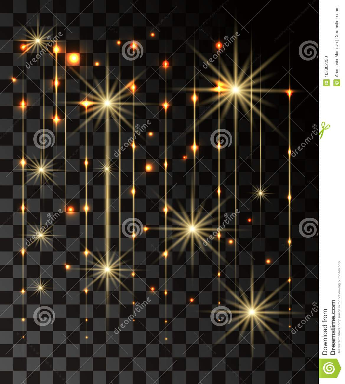 Glow isolated gold transparent effect, lens flare, explosion, glitter, line, sun flash, spark and stars. For illustration template