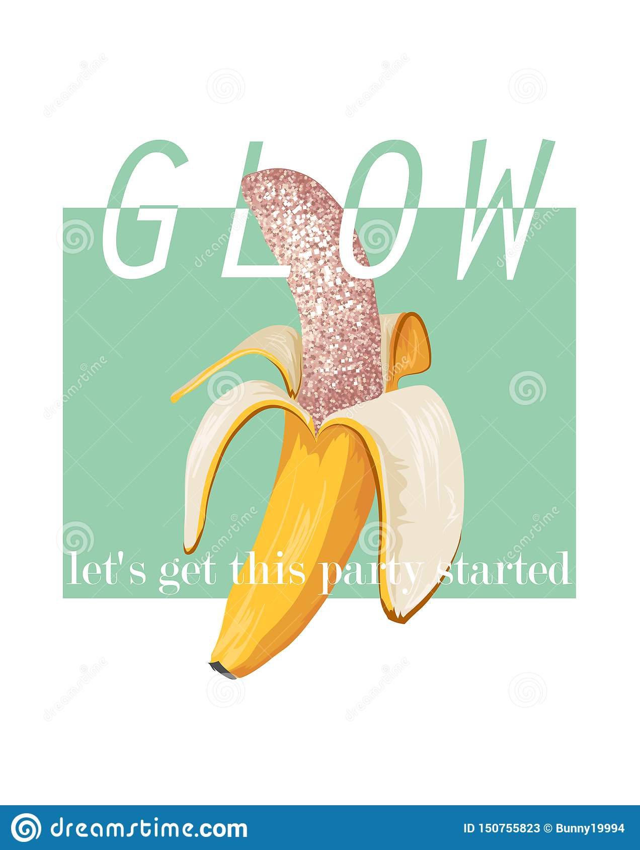Glow slogan with banana illustration. Perfect for decor such as posters, wall art, tote bag, t-shirt print, sticker, post card.