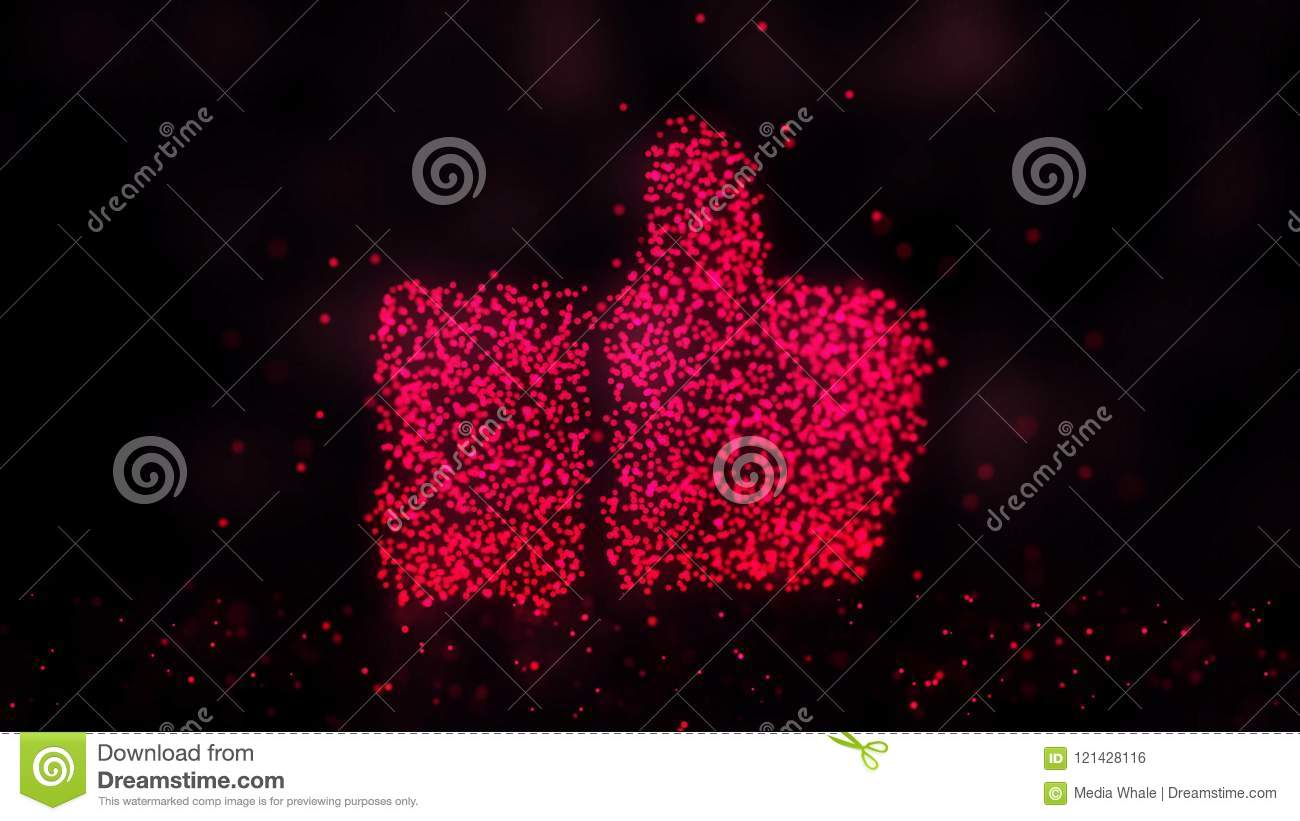 Glowing abstract Like sign, Like symbol made of red particles. Abstract night background