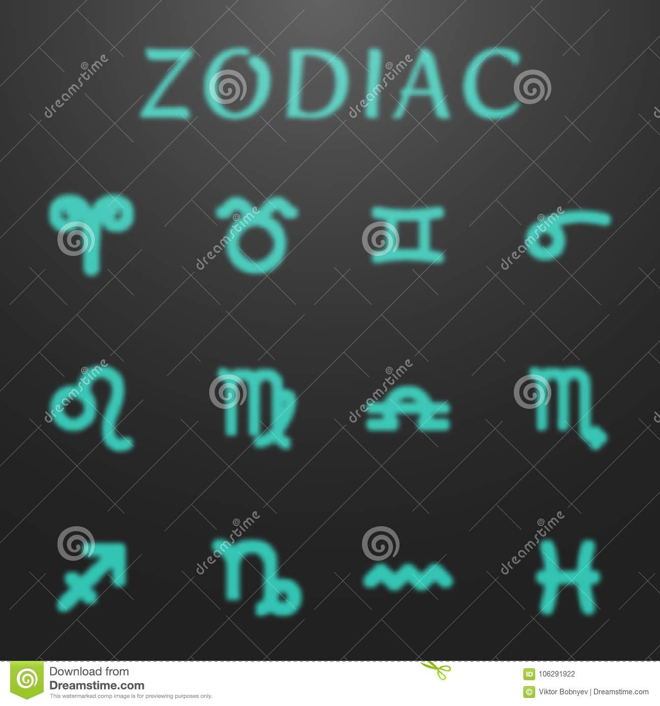 Glowing Astrology Zodiac Signs Set Stock Vector Illustration Of