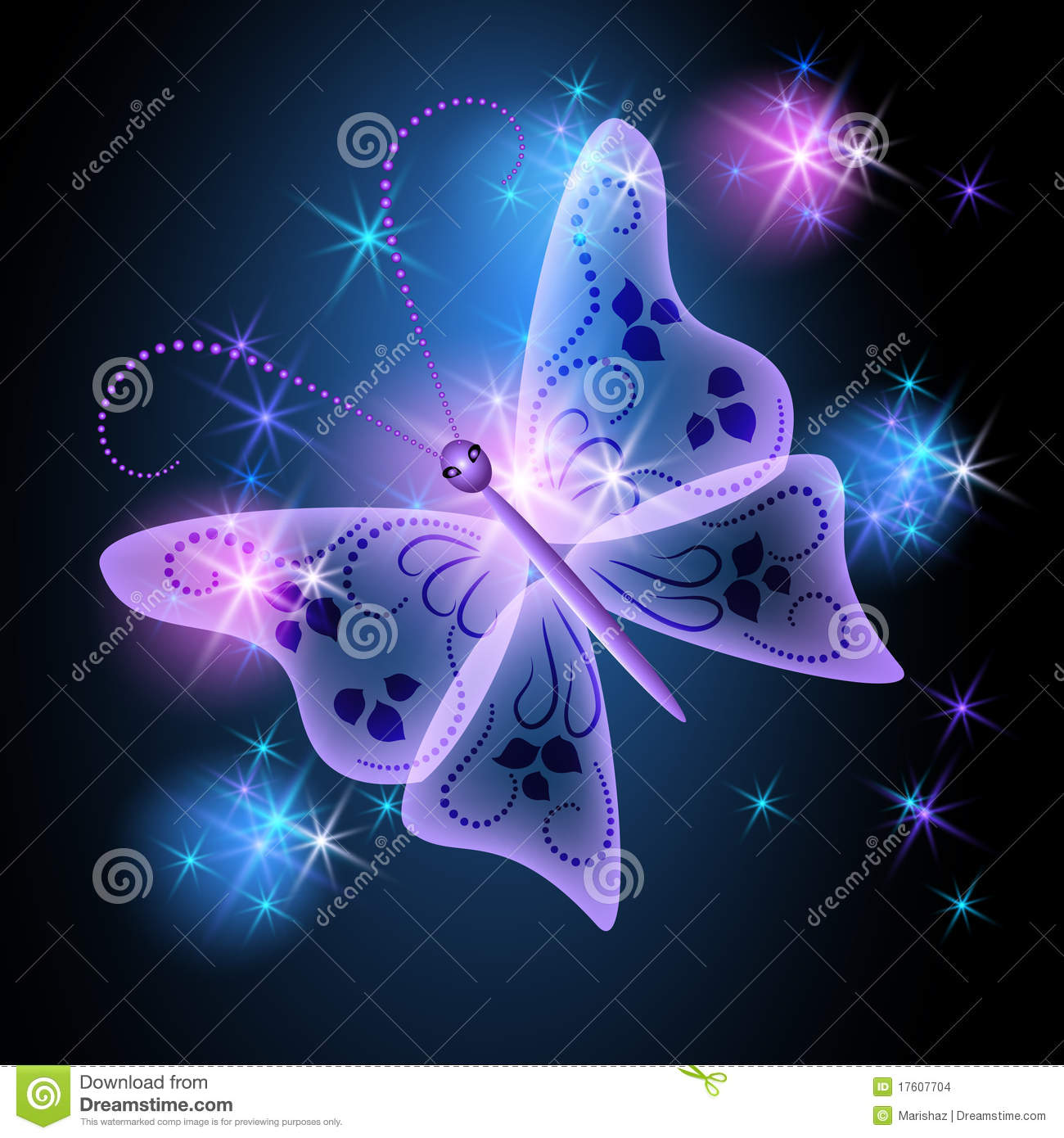 Glowing Background With Butterfly Stock Images Image