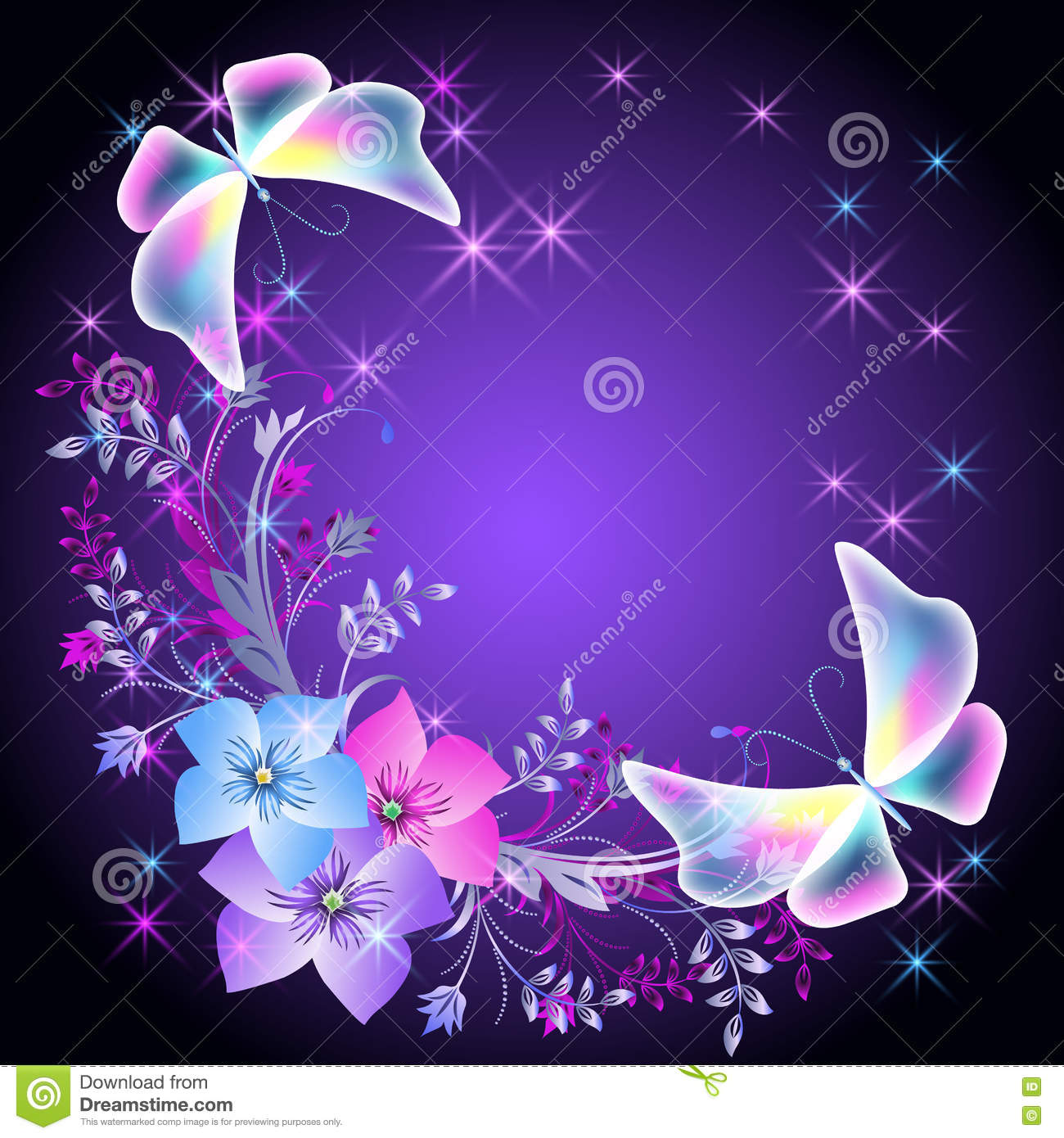 glowing background with flowers and butterflies stock vector