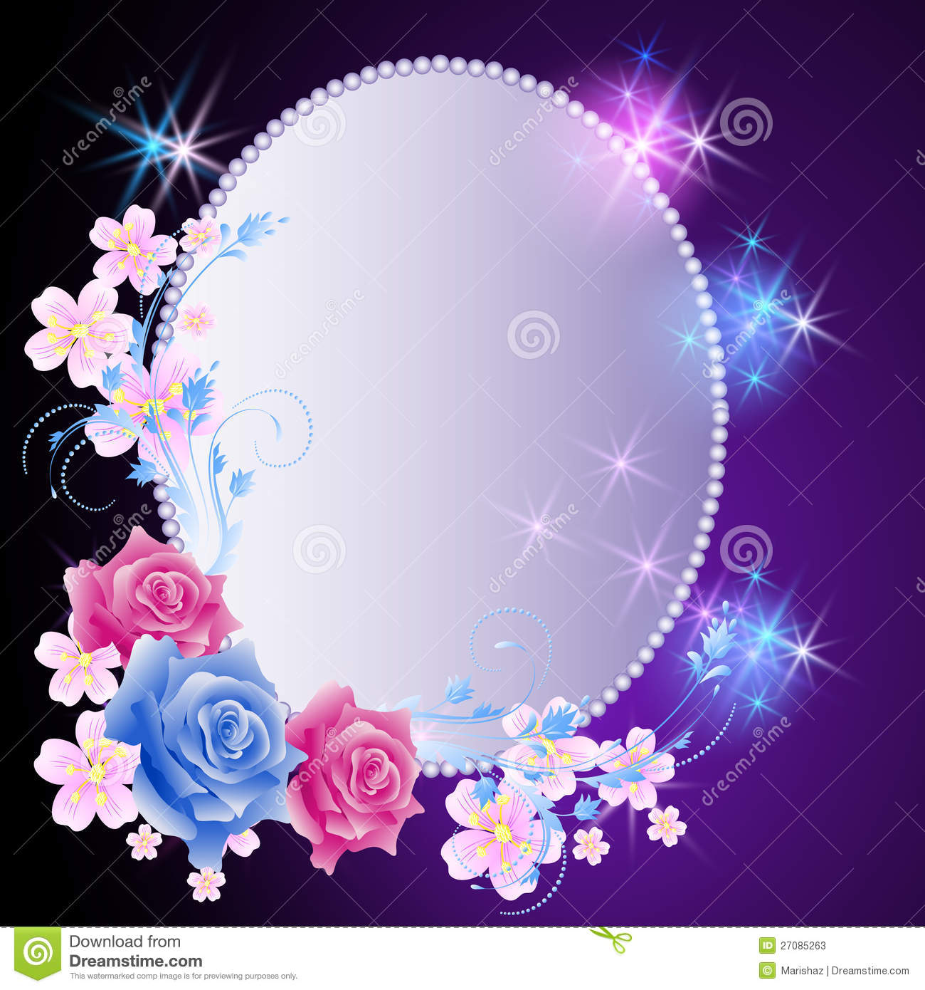 Glowing background with frame and flowers stock vector illustration of holidays painted 27085263 - Marcos de fotos para colgar ...