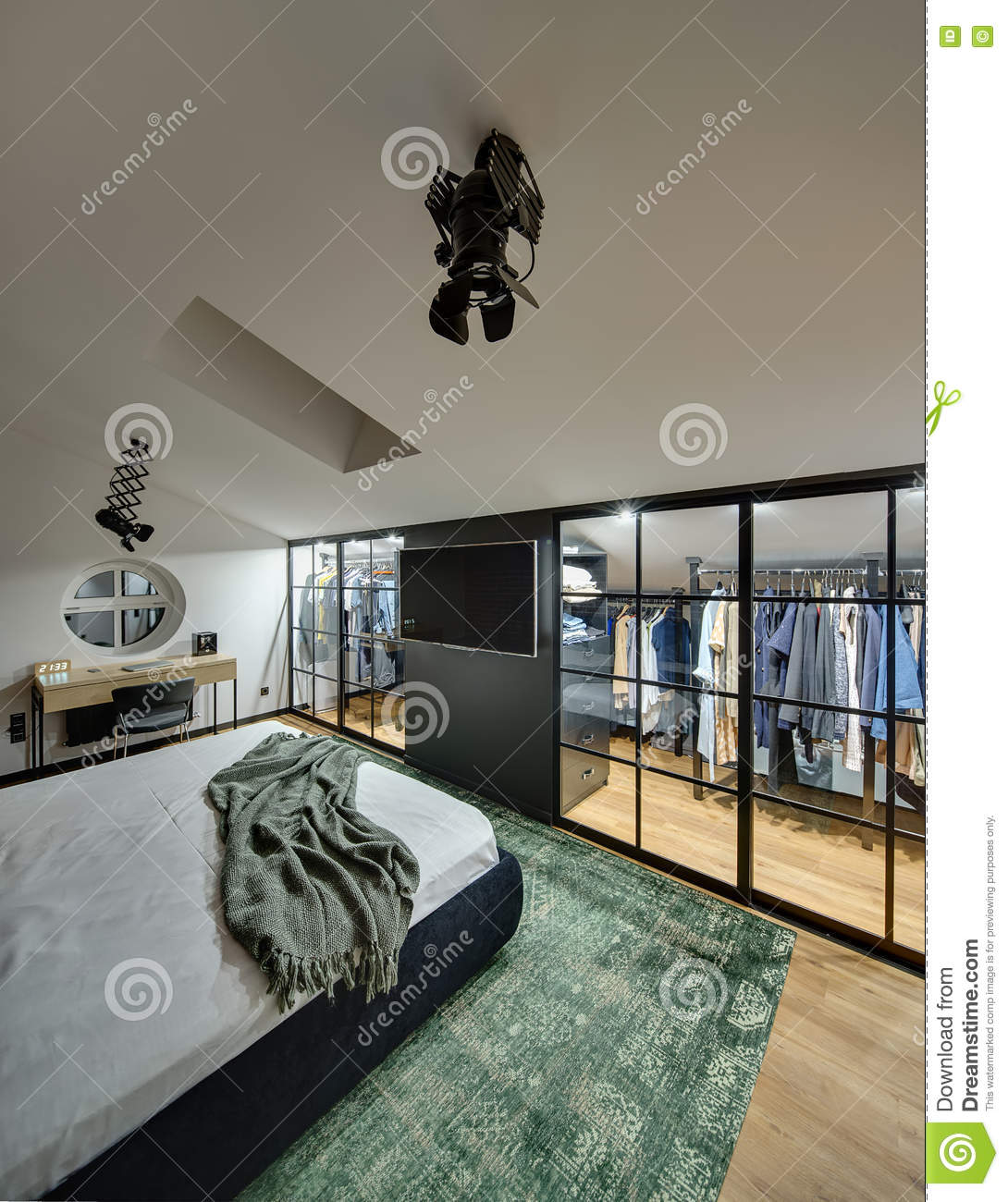 Green Rug White Walls: Glowing Bedroom In Modern Style Stock Image