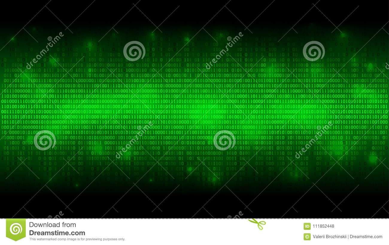 Glowing binary code, matrix green abstract background, cloud of big data, stream of information
