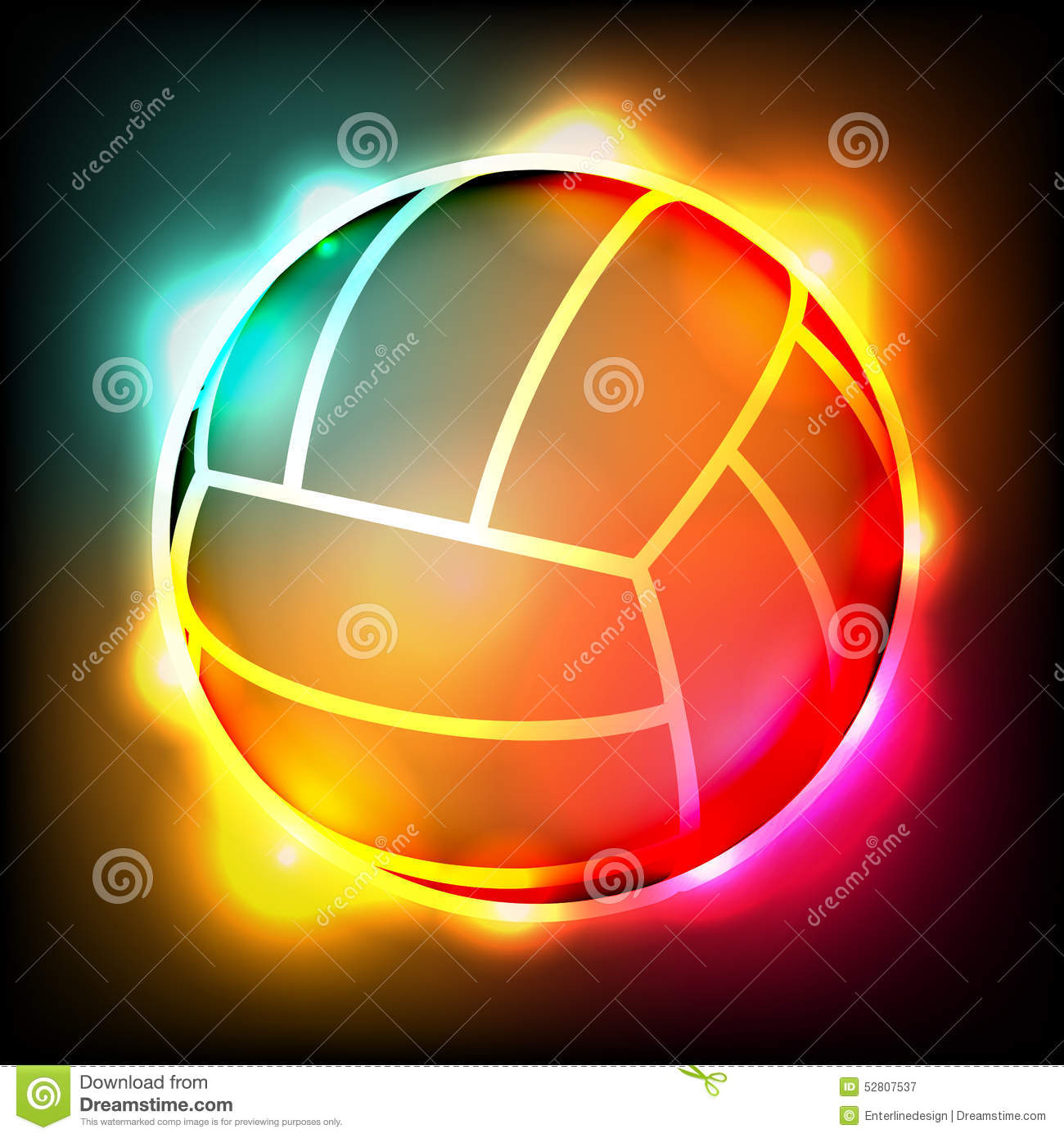 Glowing Colorful Volleyball Illustration Stock Vector
