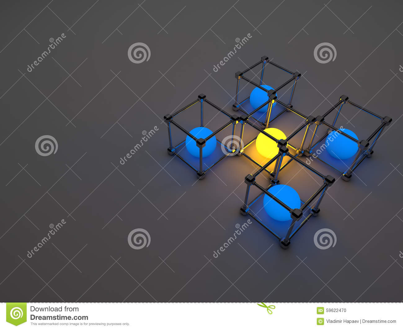 glowing cubes of fluorescent tubes abstract stock illustration