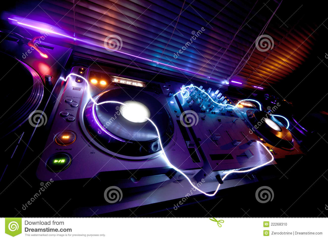 Glowing Dj Equipment Stock Photo Image Of Fingers Cdjs