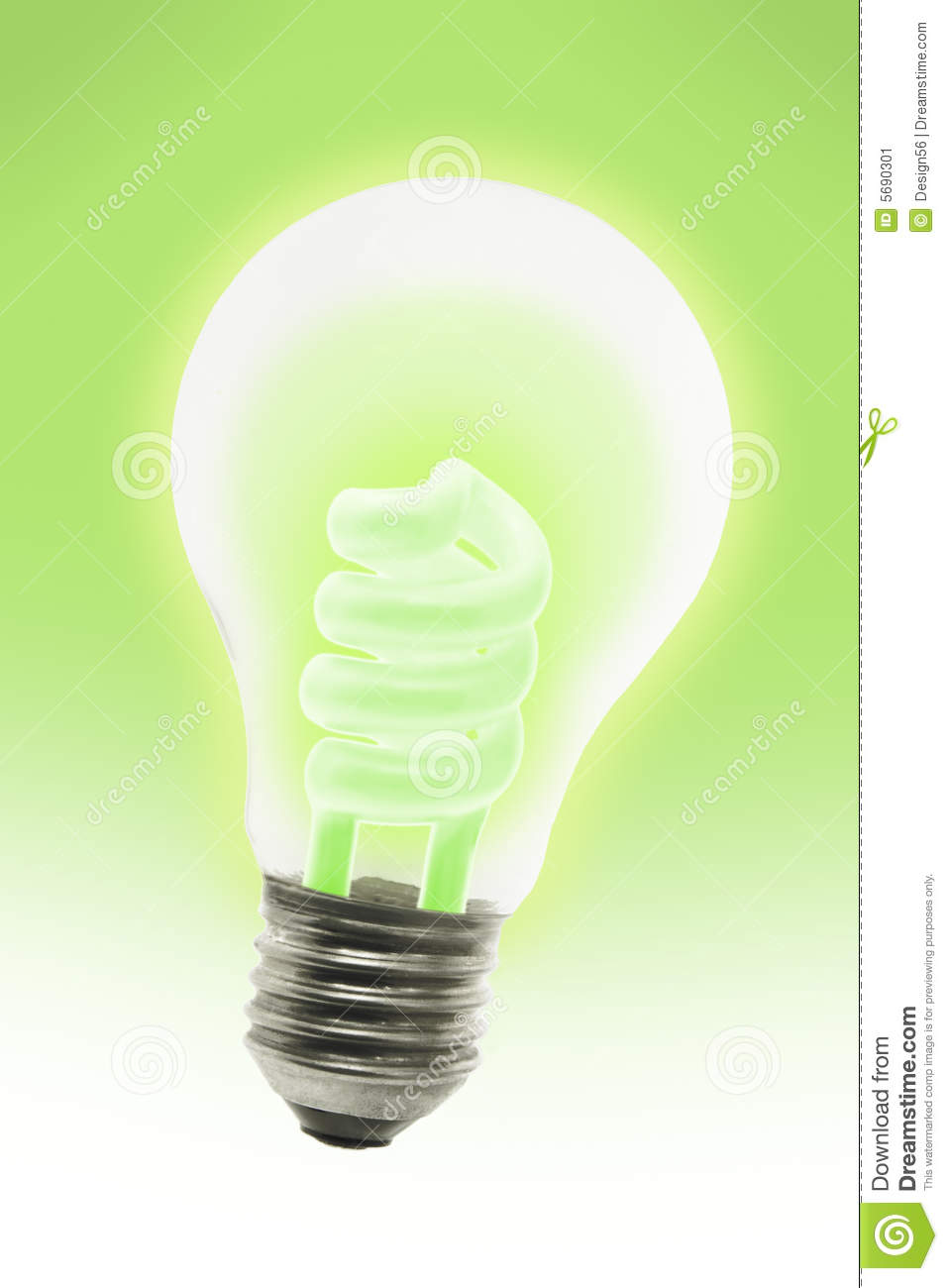 Glowing Energy Saving Electric Light Bulb Stock Image Image 5690301