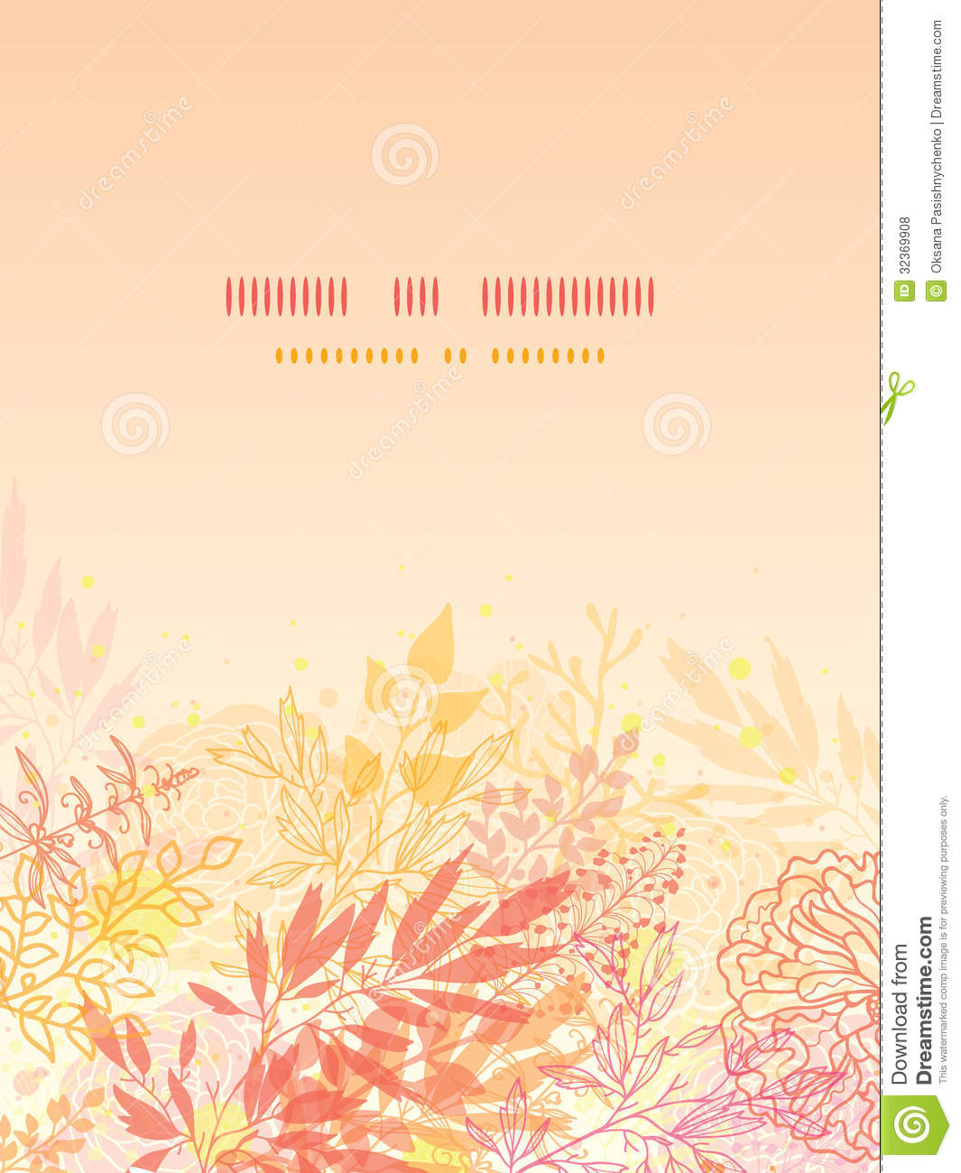glowing fall plants vertical card background stock vector