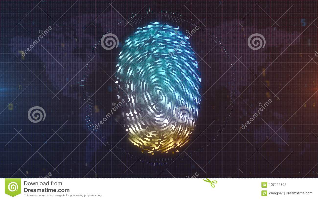 Blue and orange finger print ID on world map background