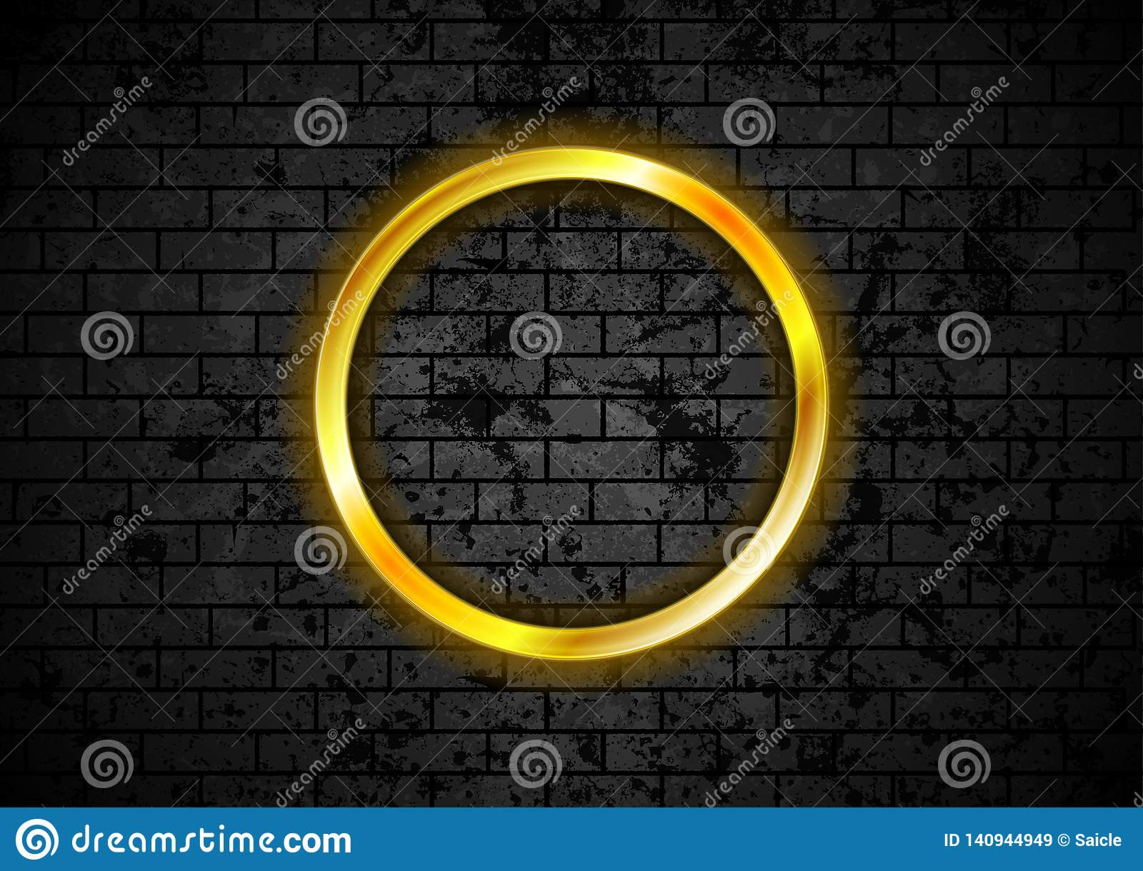 Glowing golden neon circle frame on brick wall