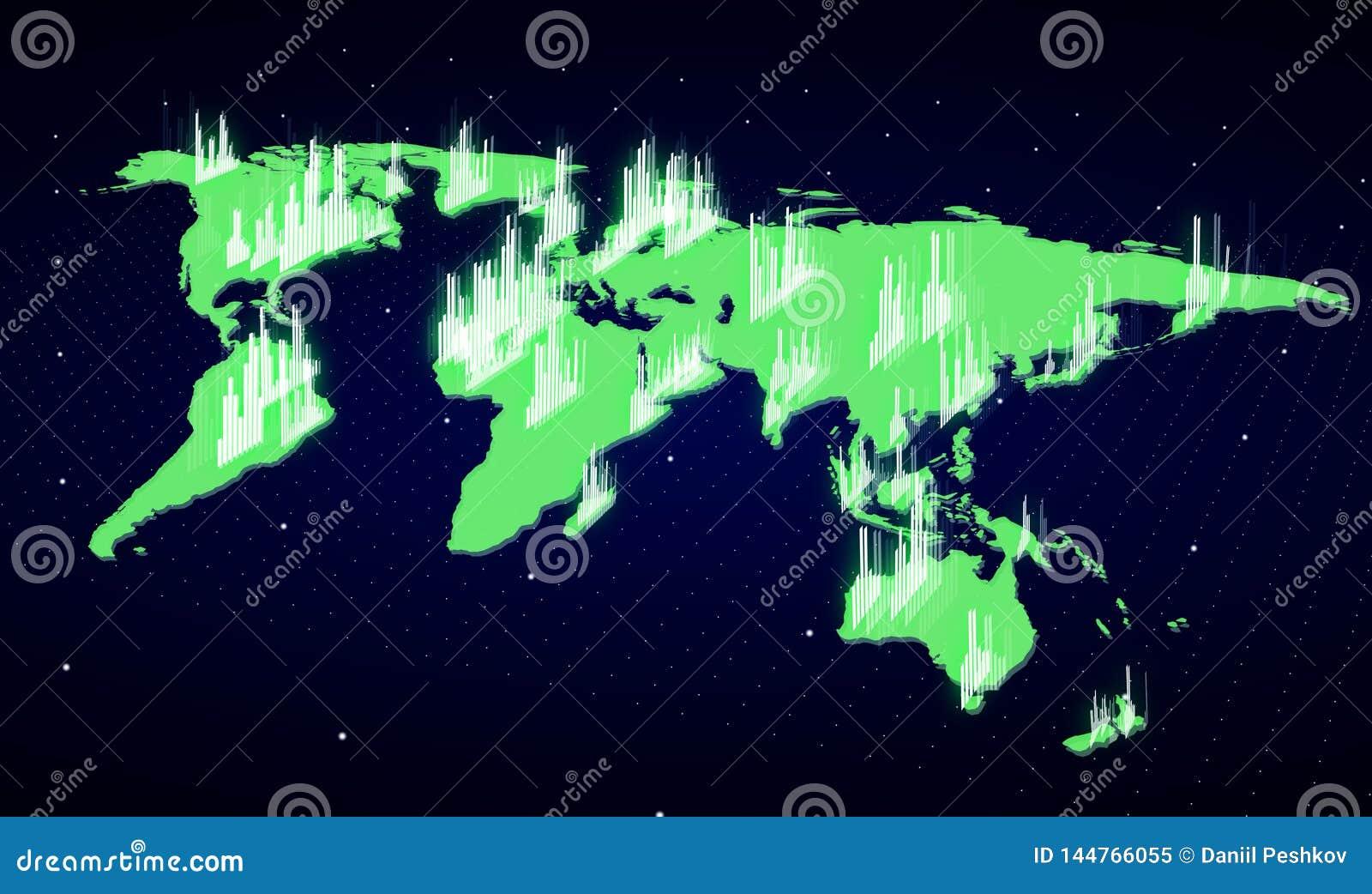 Glowing green financial map