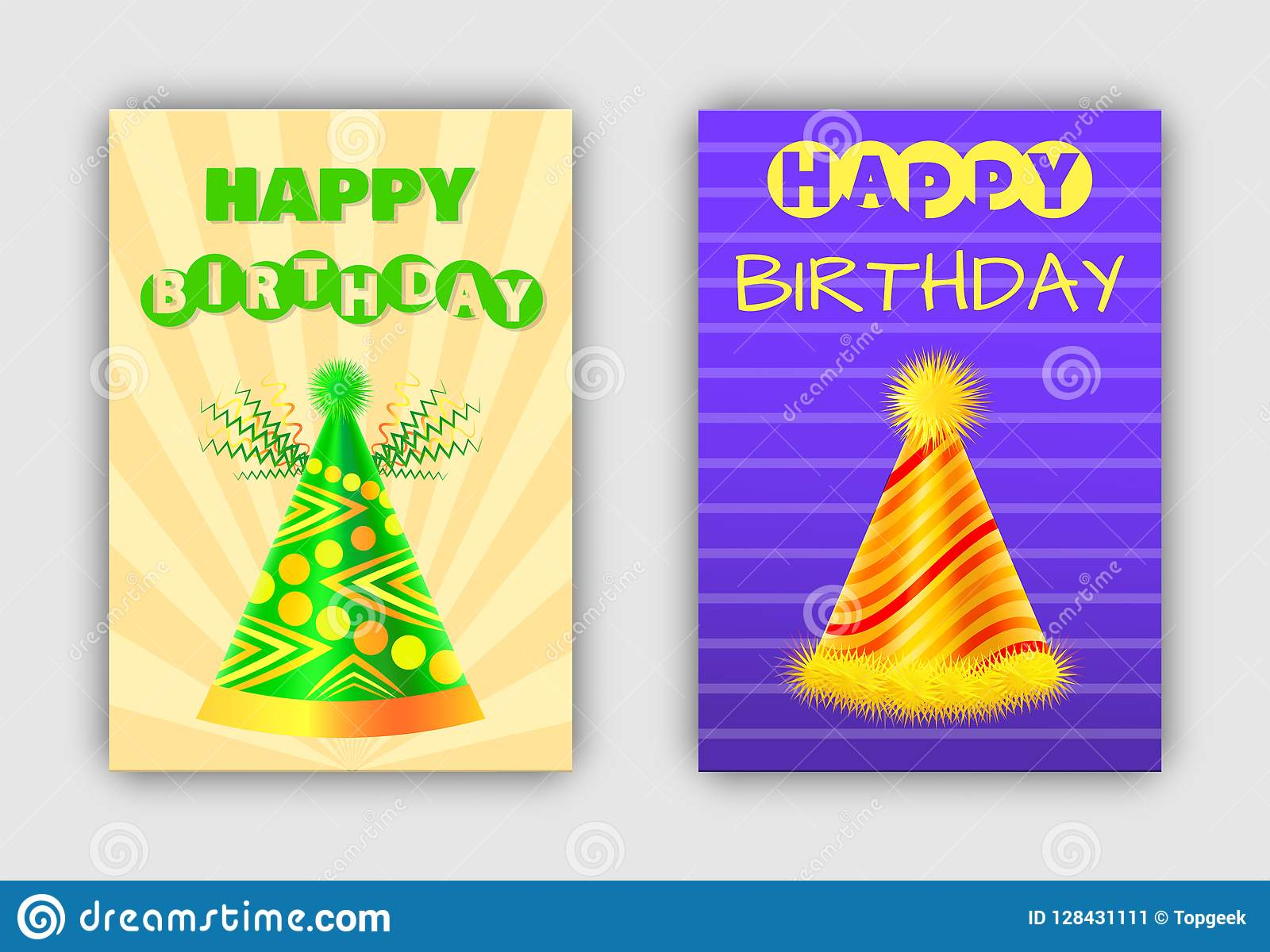63512ab3c Glowing Happy Birthday Postcards With Holiday Hats Stock Vector ...