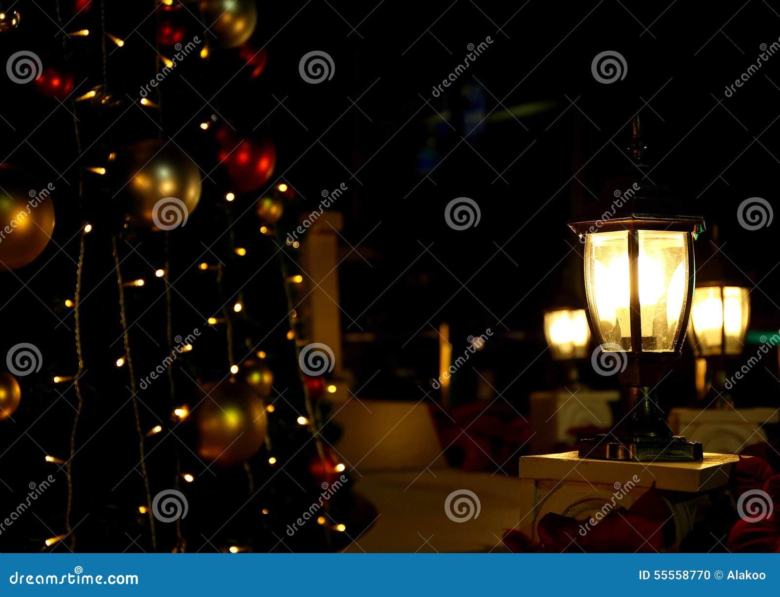 Christmas Tree Lights Background Outdoor Light Stock Photo