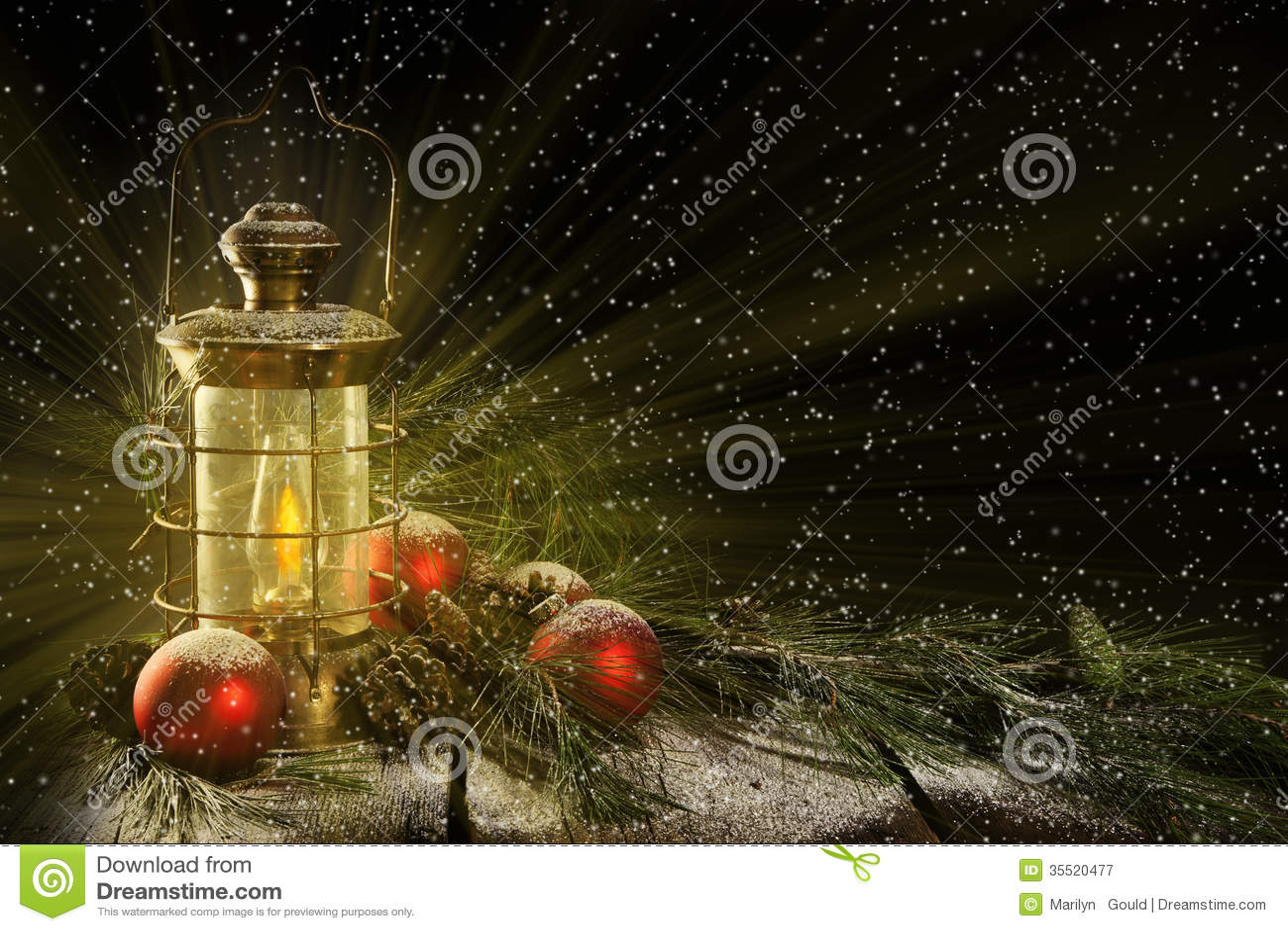 Glowing Lantern Christmas Night