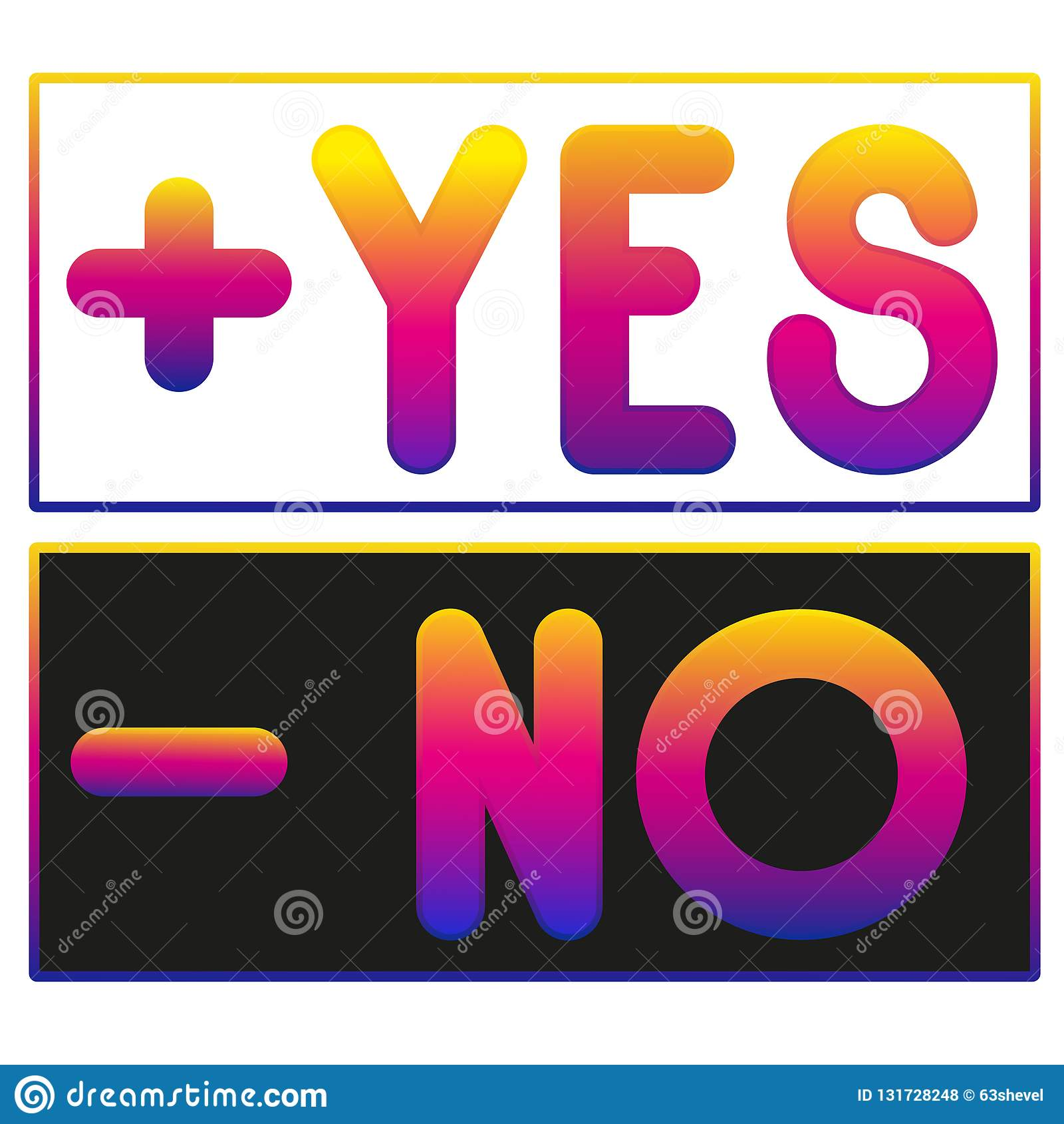 Glowing Lettering Yes Or No Set Vector Illustration Stock Vector