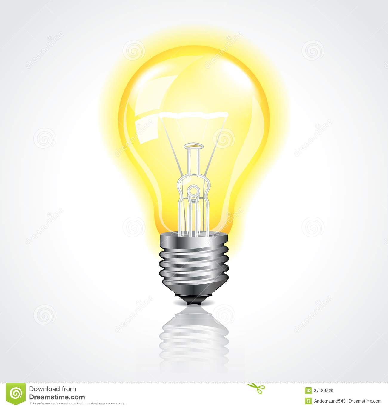 glowing light bulb vector illustration stock photo