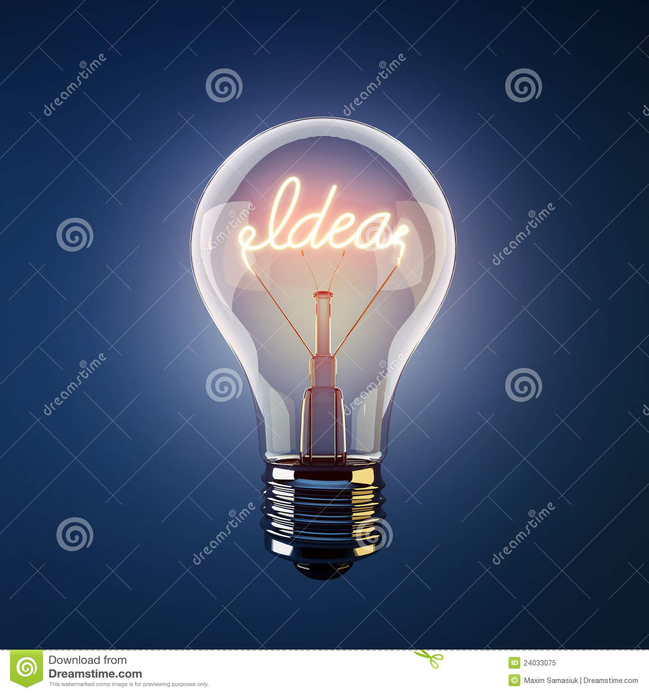 Glowing Light Bulb With The Word Idea Stock Image Image Of Contrast Bulb 24033075