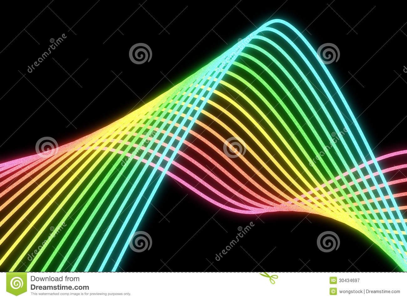 Glowing multicolored neon lines on a black backgrund