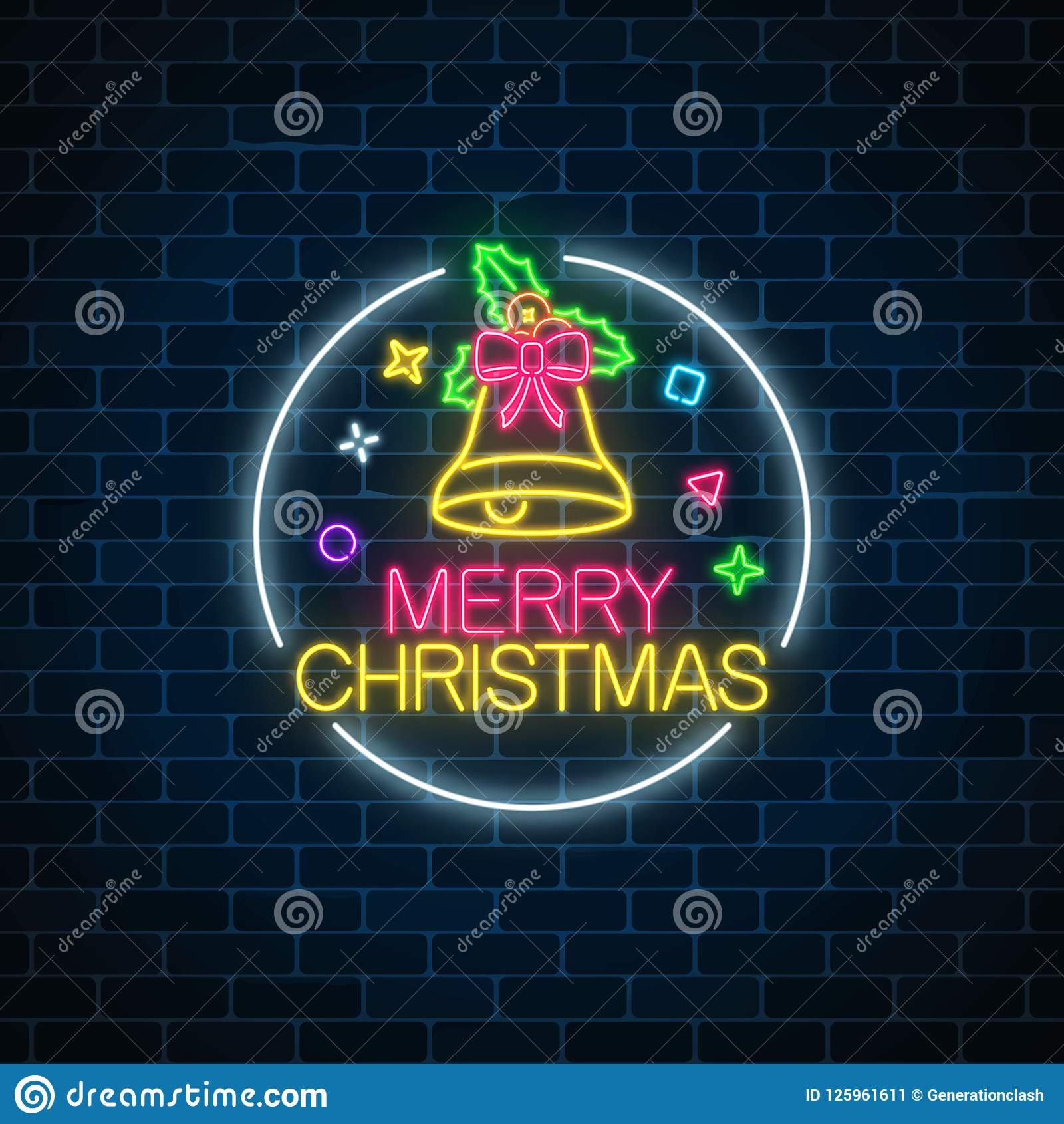 Glowing Neon Christmas Sign With Christmas Bell, Bow-knot And Holly In Circle Frame. Christmas ...