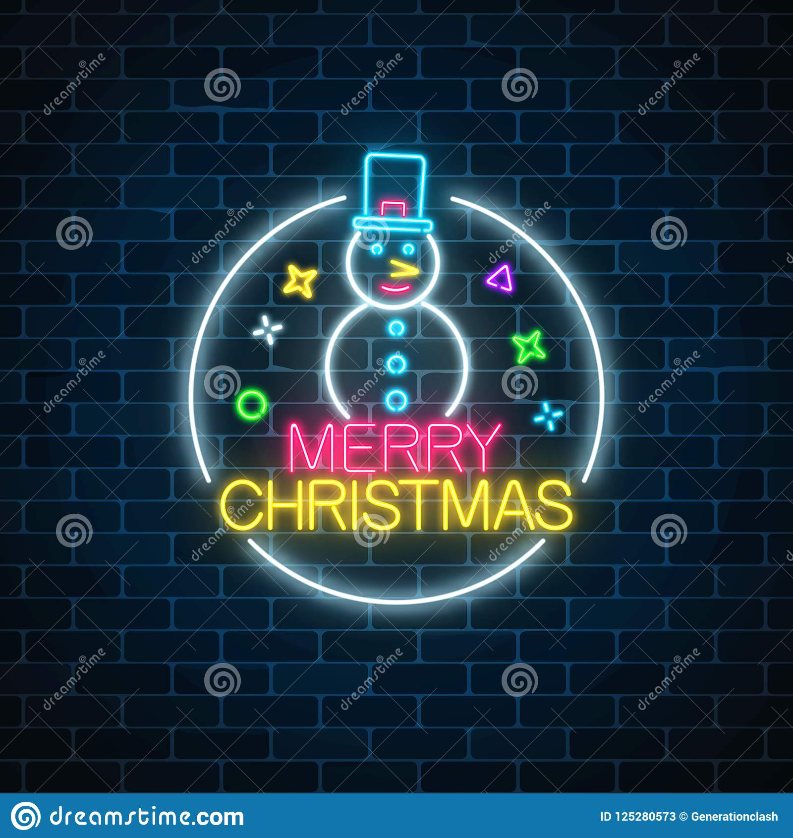 Glowing Neon Christmas Sign With Snowman With Hat In Circle Frame