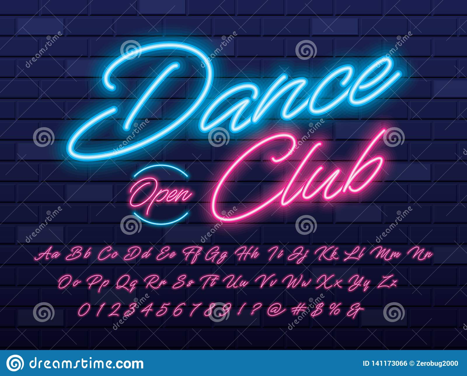 Neon light font stock vector  Illustration of cursive