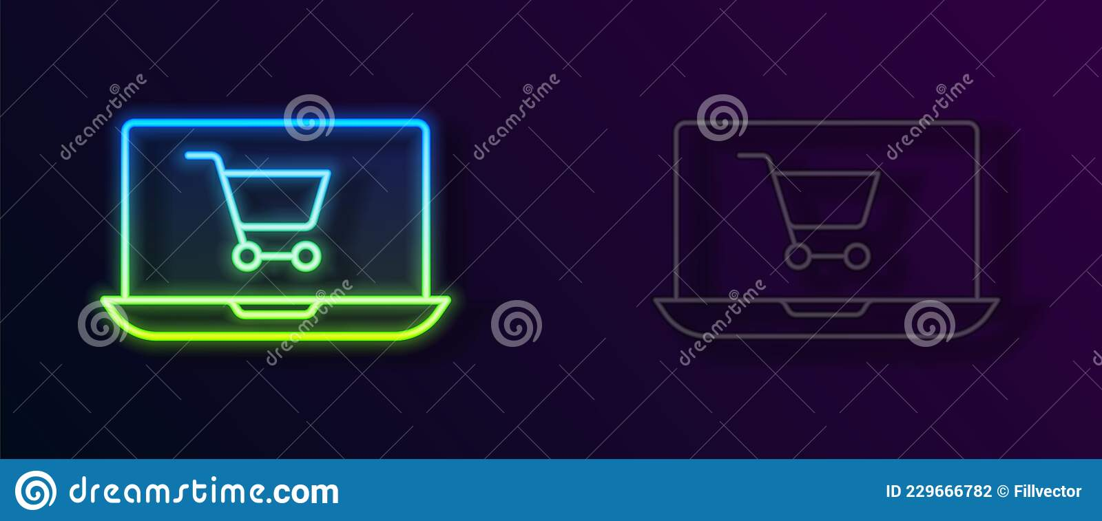 Glowing Neon Line Shopping Cart On Screen Laptop Icon ...
