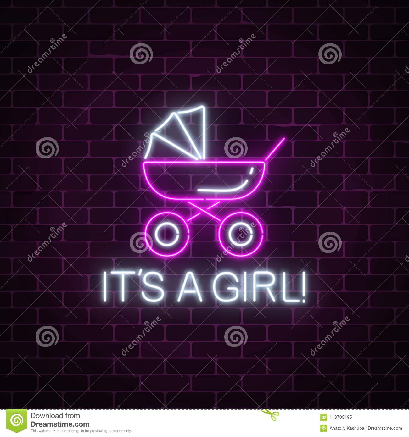 glowing neon sign with congratulations on the birth of a baby girl baby carriage symbol