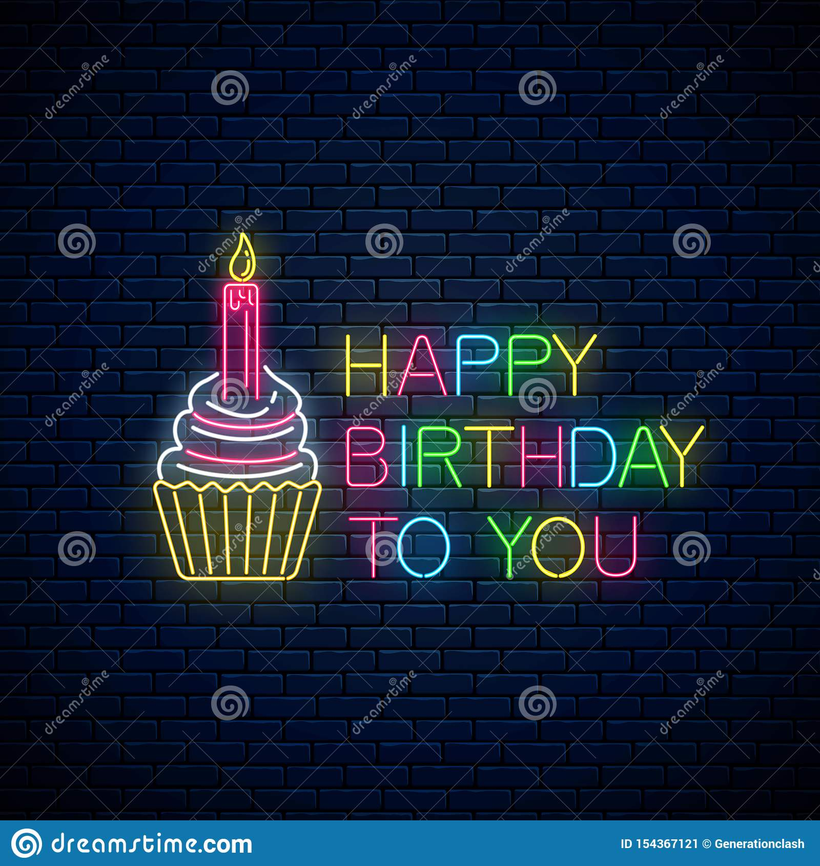 Terrific Glowing Neon Sign Of Happy Birthday Card With Cake And Candle Birthday Cards Printable Giouspongecafe Filternl