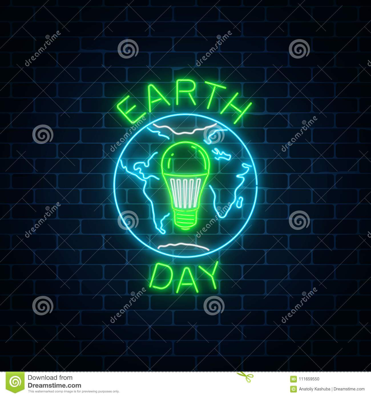 Glowing Neon Sign Of World Earth Day With Globe Symbol And Green Led ...