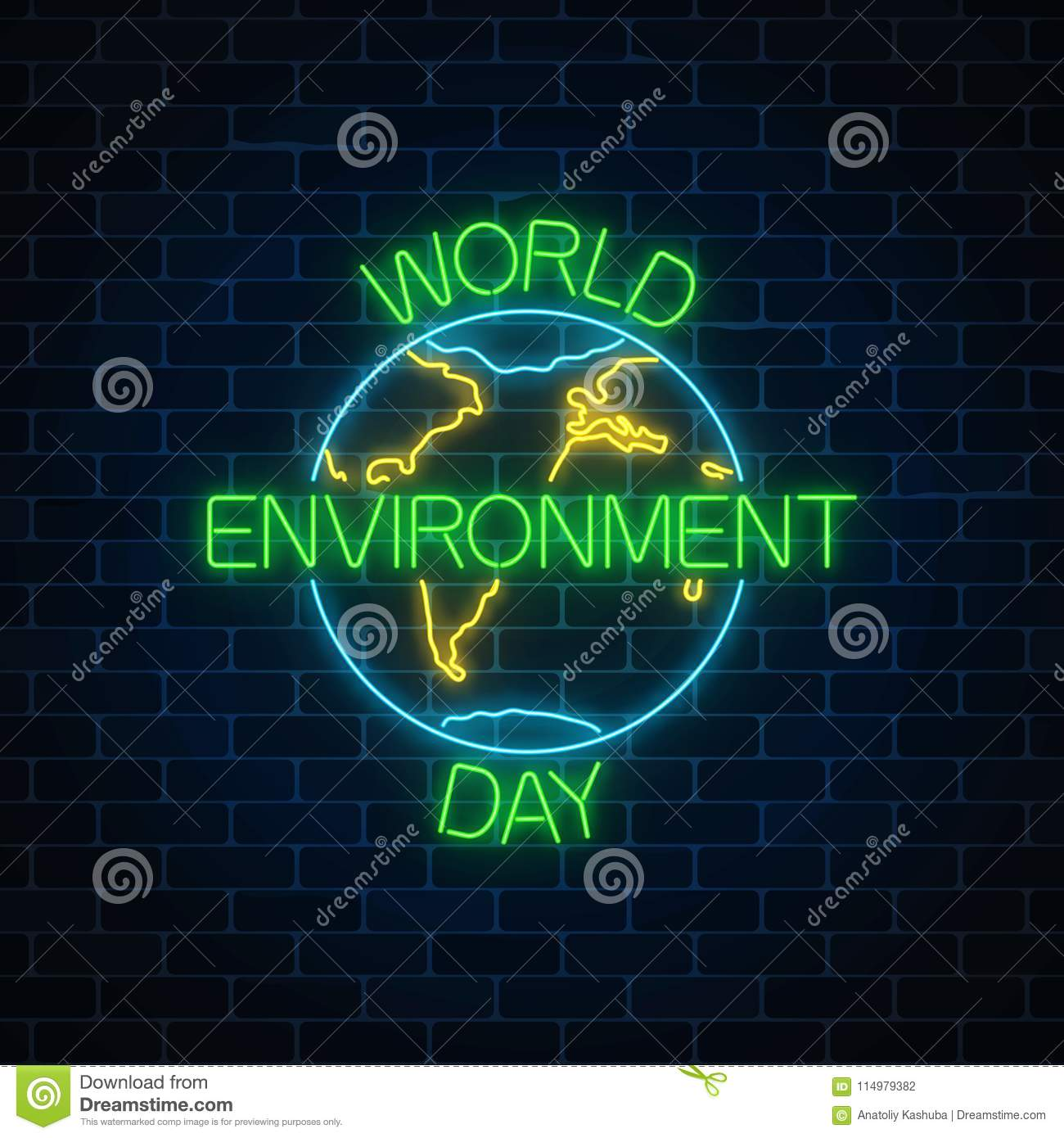Glowing Neon Sign Of World Environment Day With Globe Symbol And