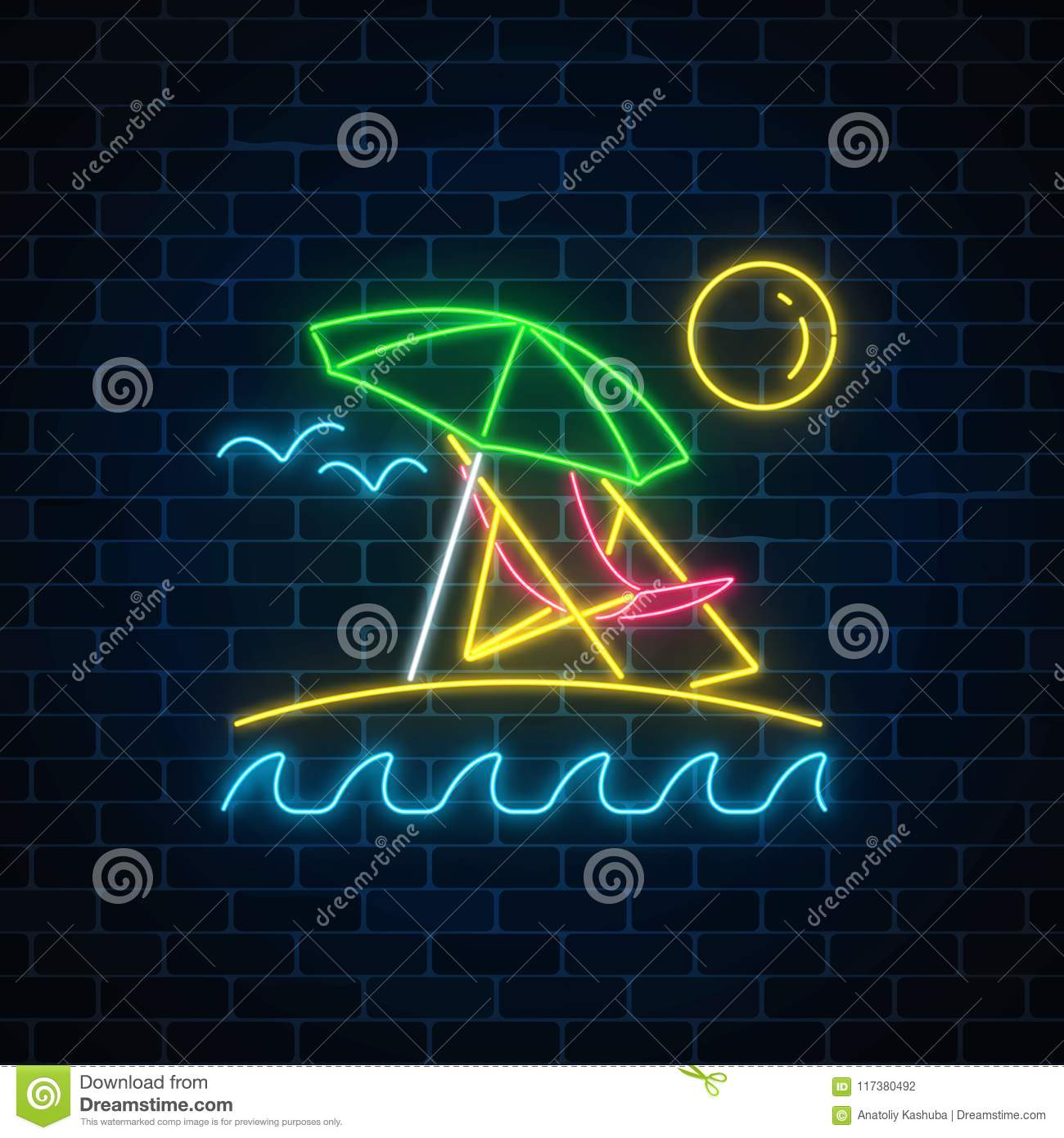 UmbrellaSunChaise Ocean And Neon With Summer Longue Glowing Sign rxhdBQCts