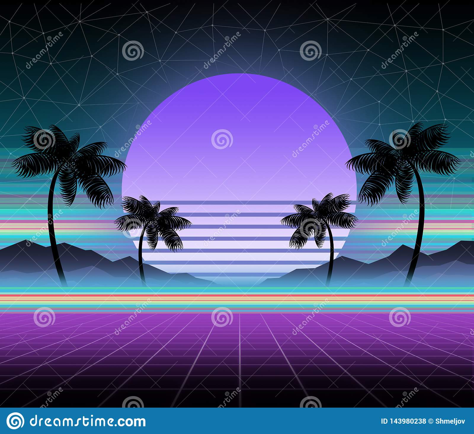 Glowing Neon, Synthwave And Retrowave Background Template