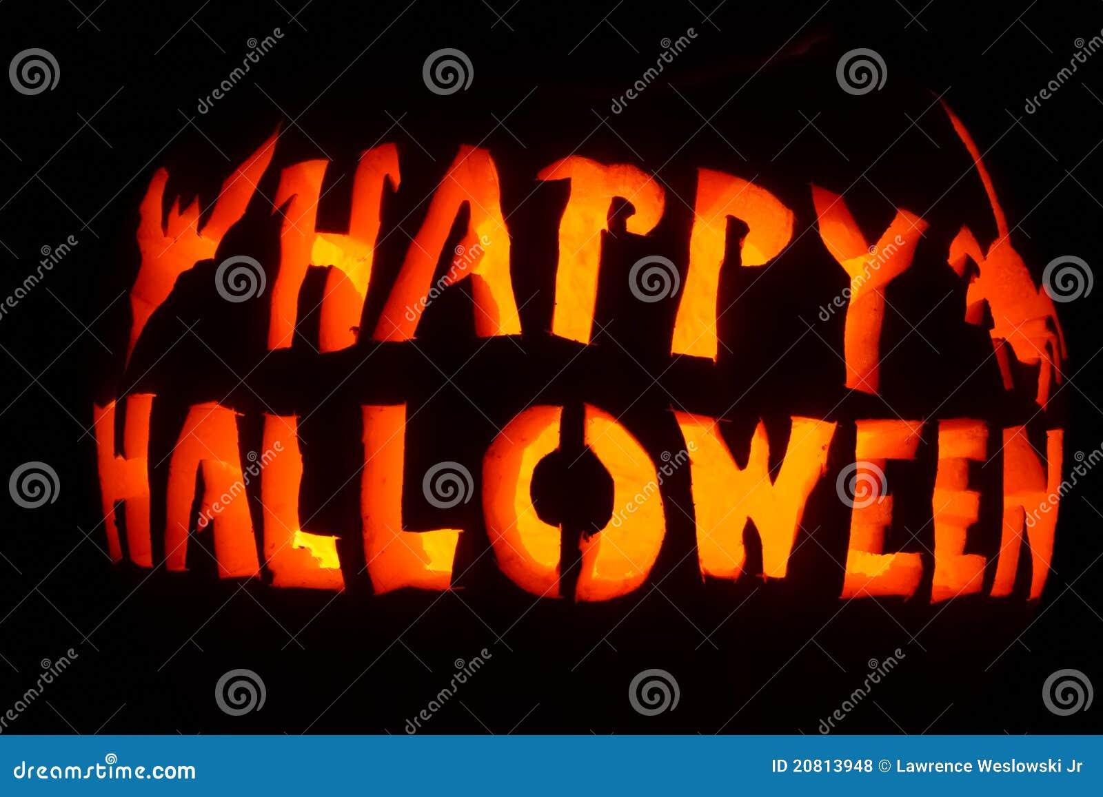 Glowing Orange And Yellow Happy Halloween Stock Photo - Image of ...