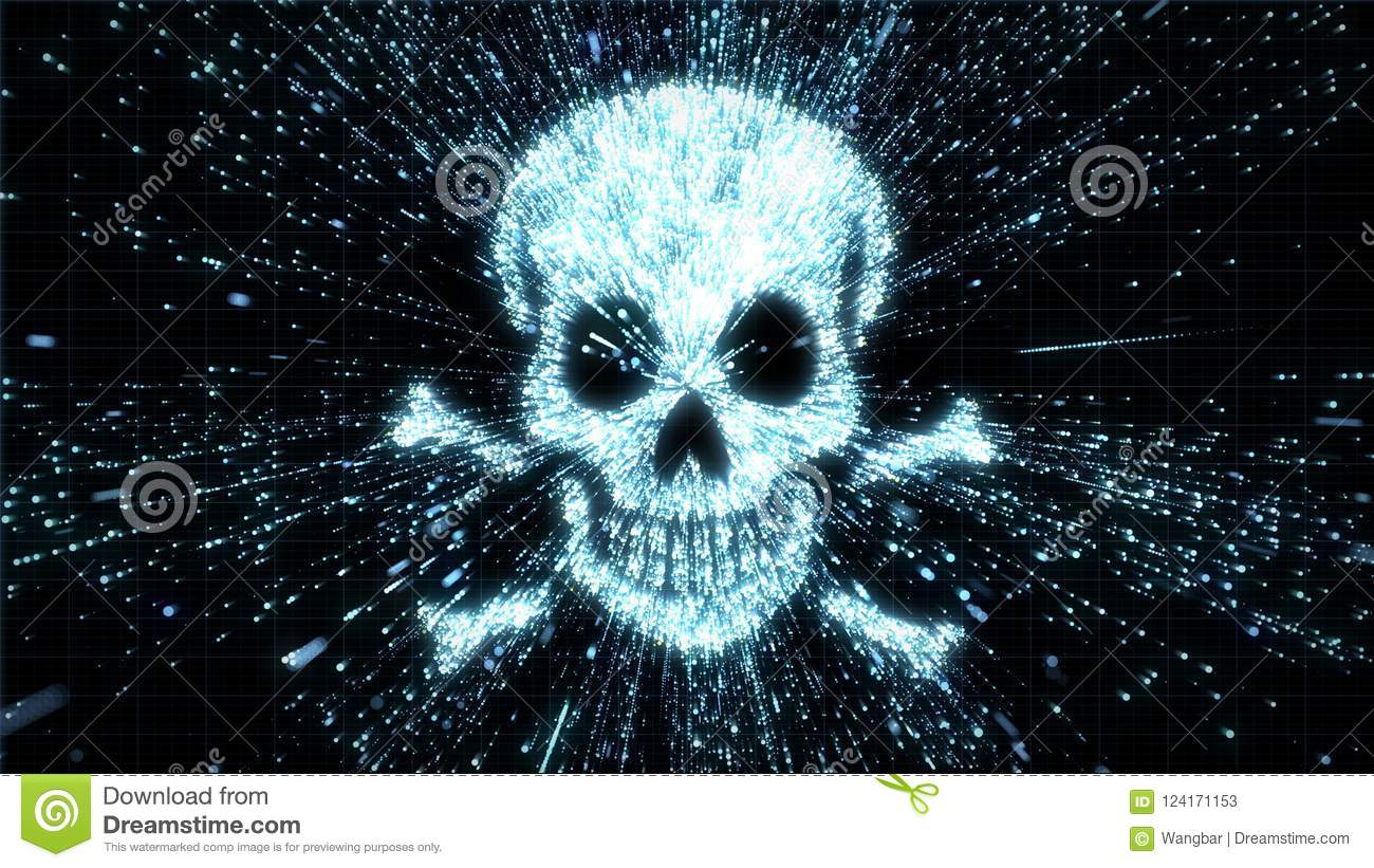 Glowing skull and crossbones illustration being in particle explosion with motion blur
