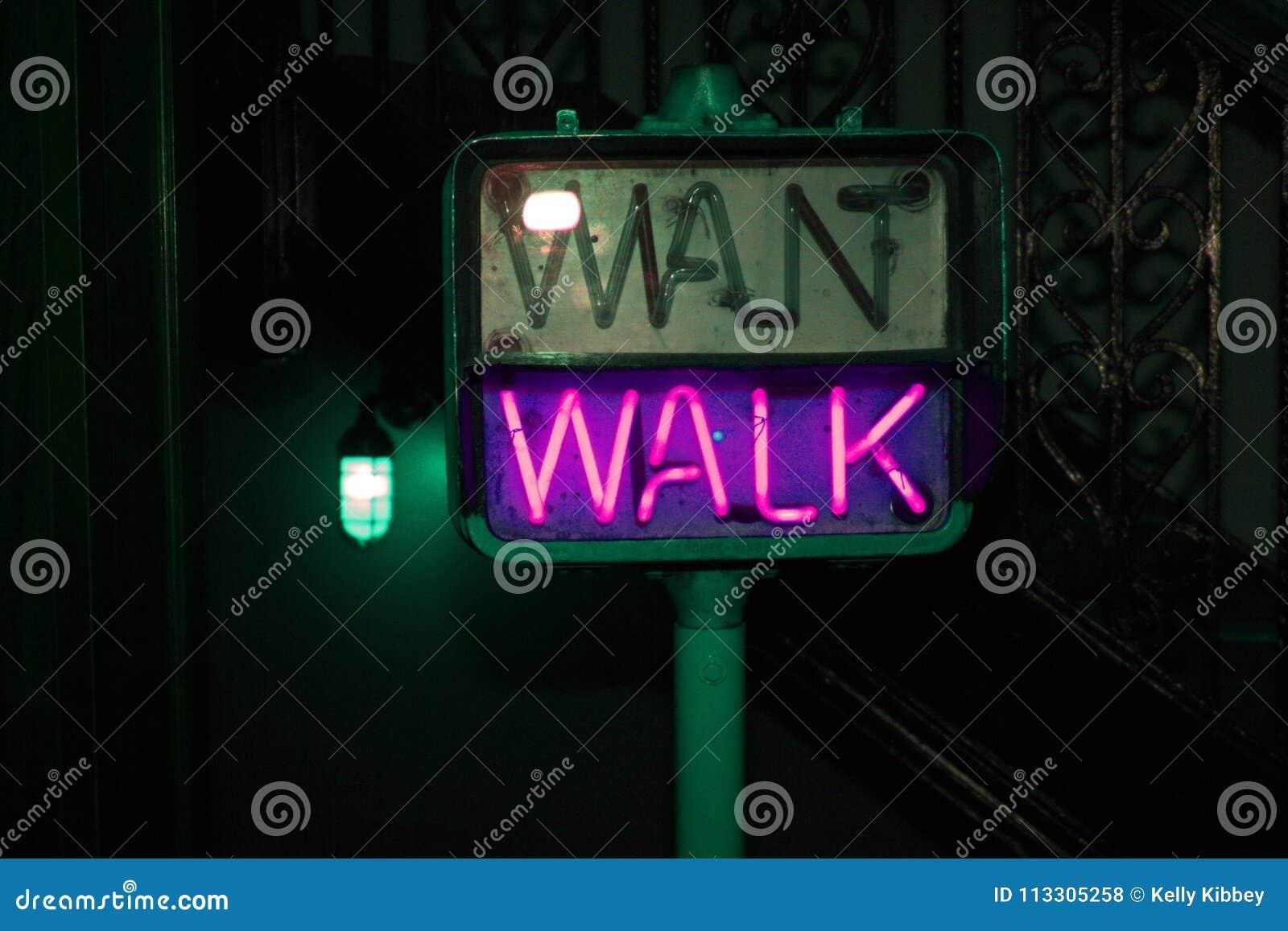 Glowing Purple Pedestrian Crosswalk Sign
