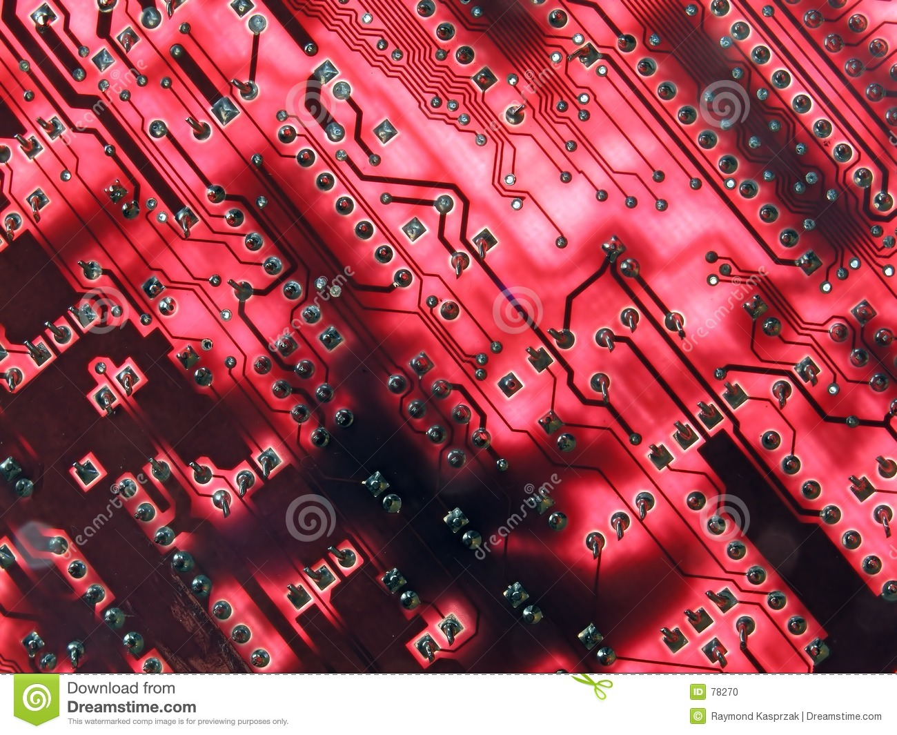 Glowing Red Circuits Stock Photo  Image Of Macro  Solder