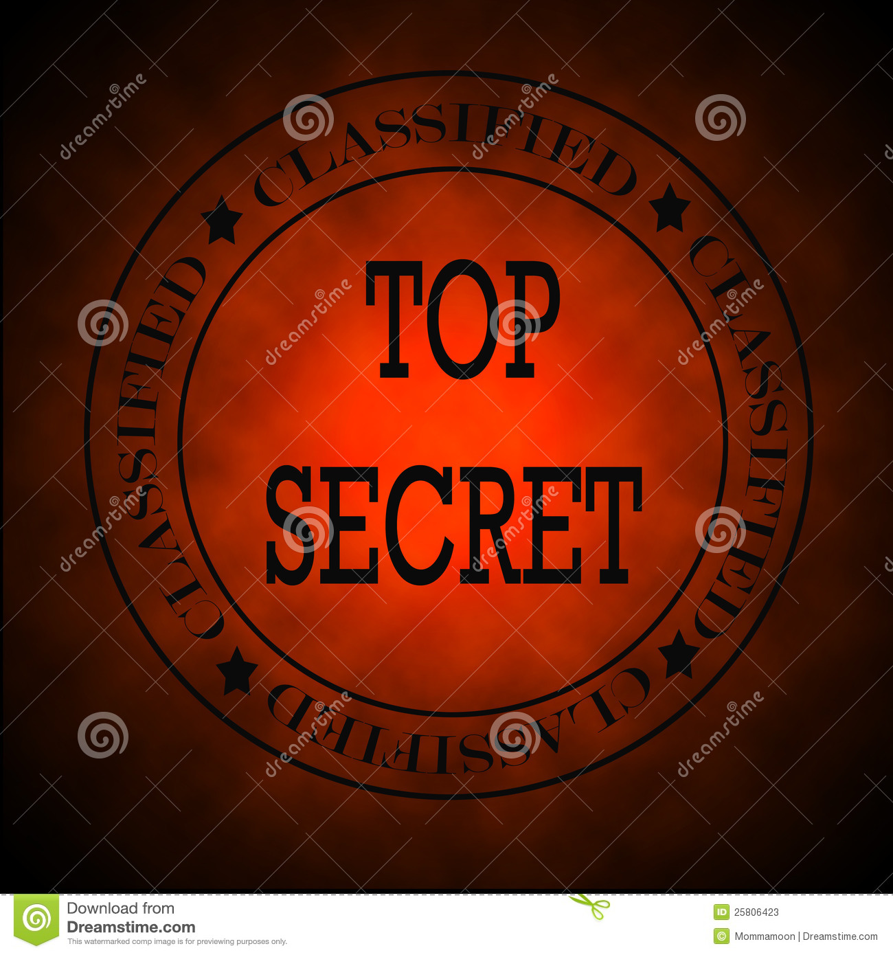 Glowing Red Classified Top Secret Symbol Or Stamp Stock