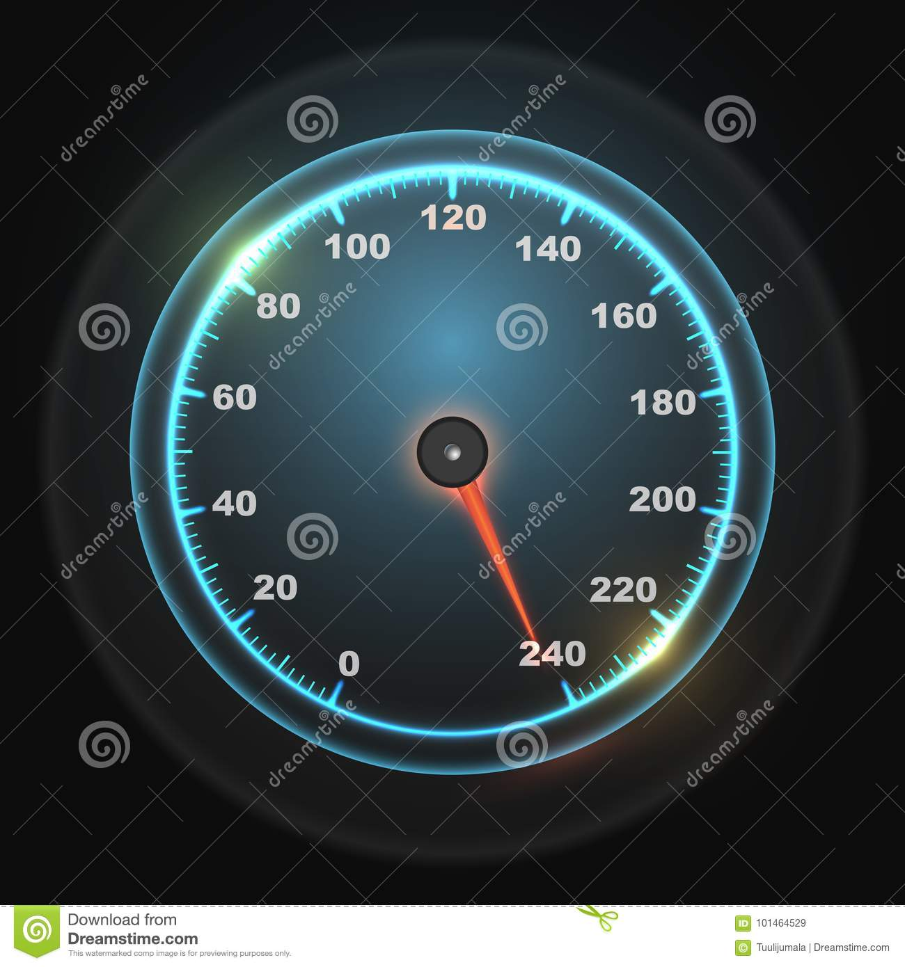 Glowing Round Car Speedometer Stock Vector Illustration Of