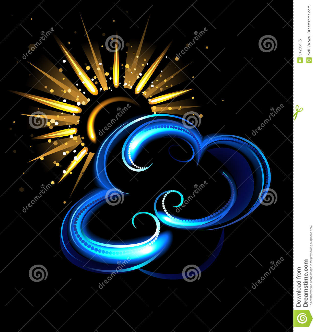 Glowing sun and cloud stock image. Image of graphic ...