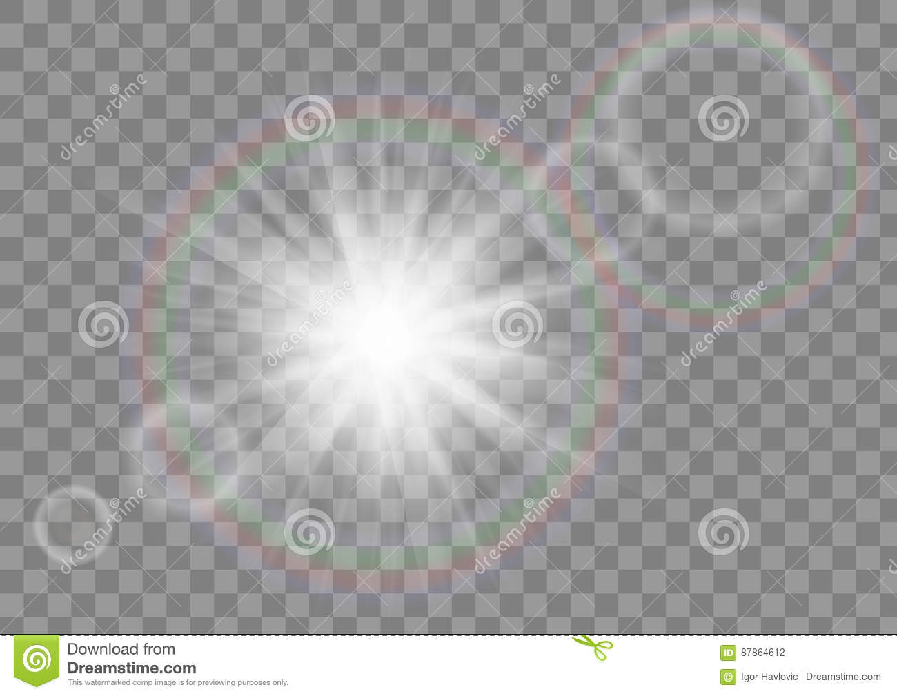 Download Glowing Sun Rays Sparkle Star With Lens Flare Effect On Transparent Vector Background Stock