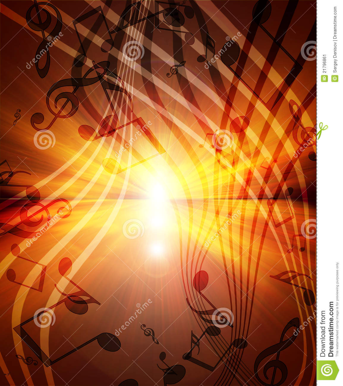Glowing sunset with musical