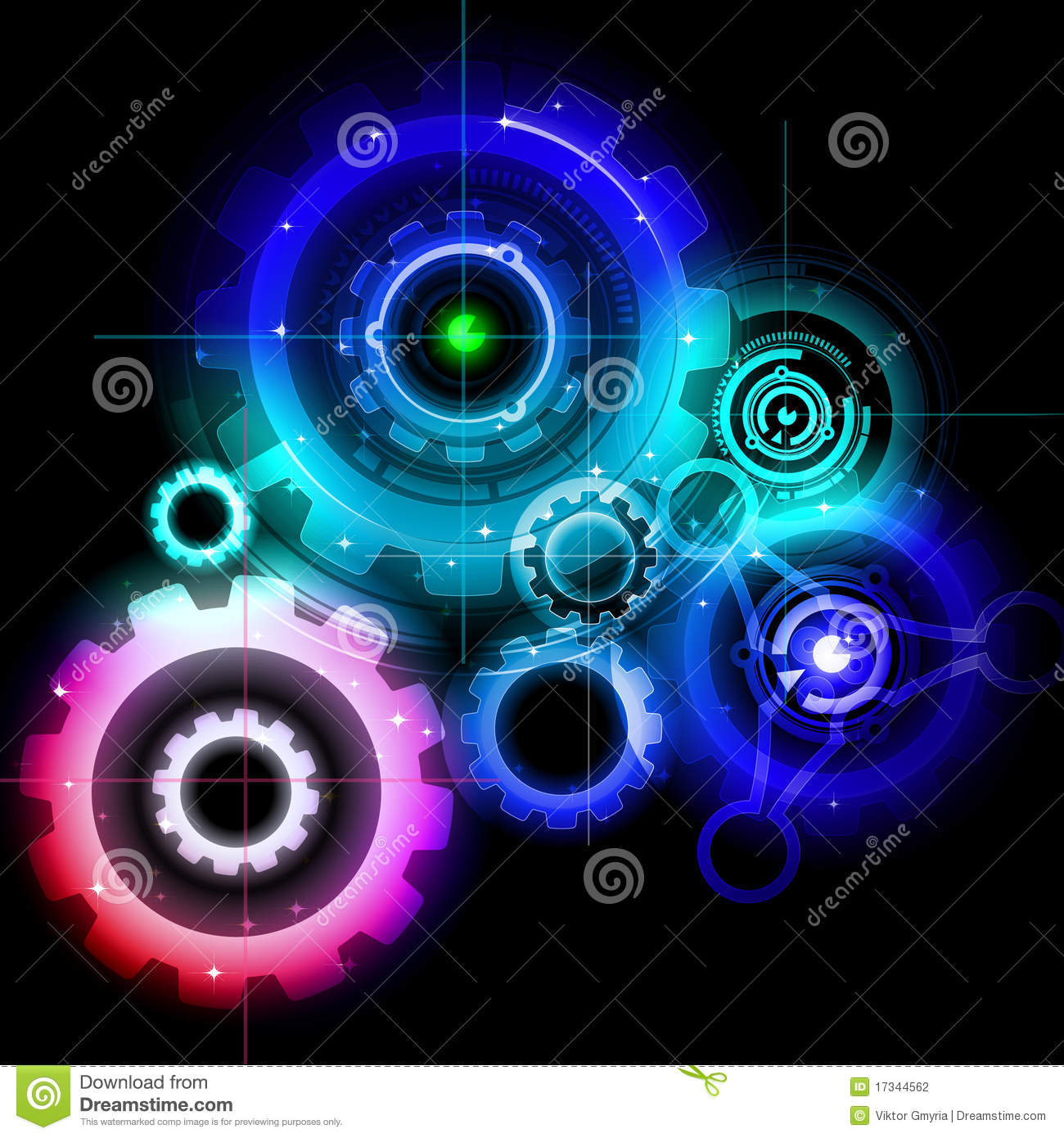 Glowing Techno Gears Stock Photography Image 17344562
