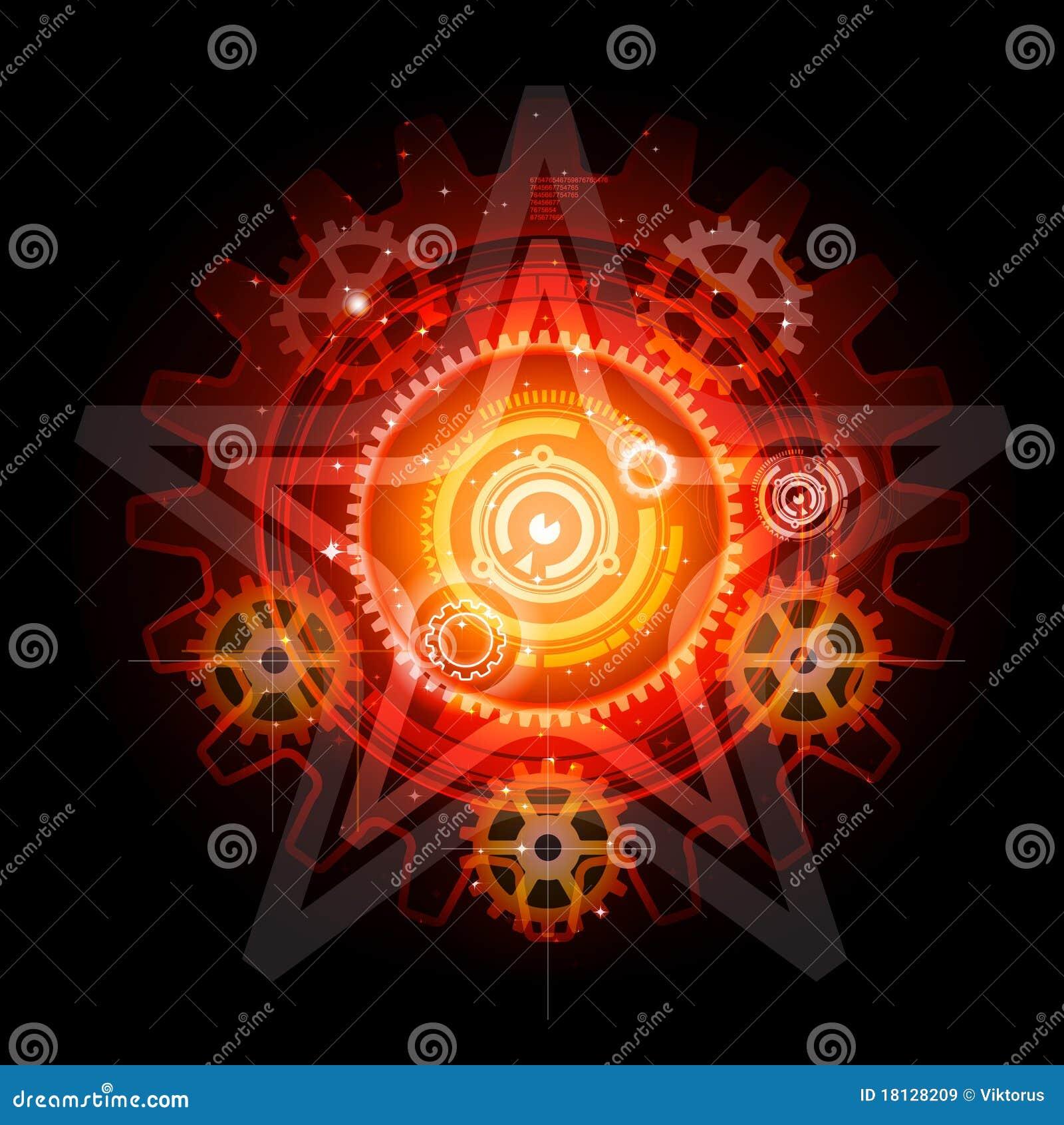 Glowing Techno Gears pentagram