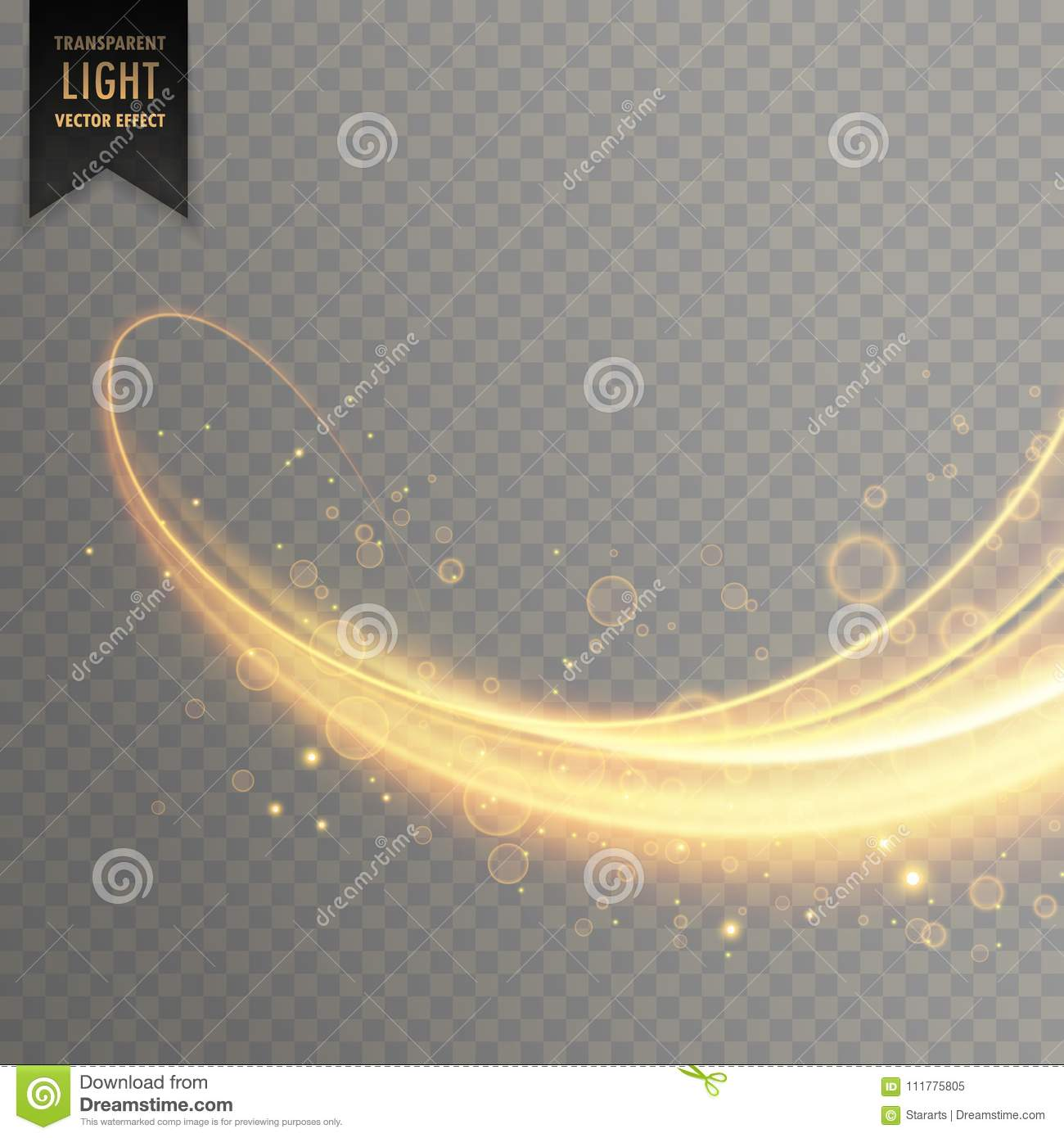 Glowing transparent light effect in gold color